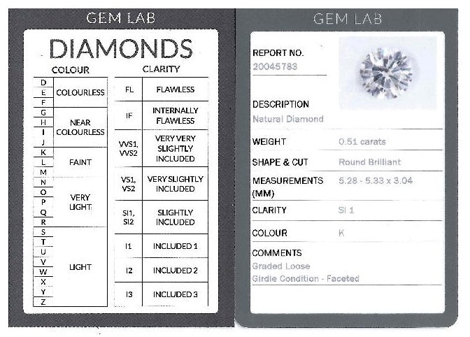 0.51ct Round Brilliant Diamond Engagement Ring Certificate