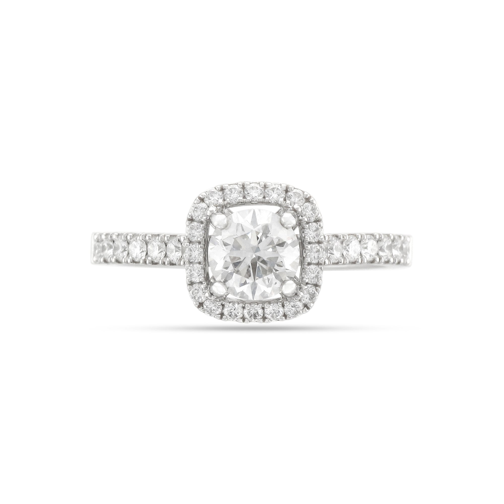 0.70ct Brilliant-Cut Diamond Halo Engagement Ring
