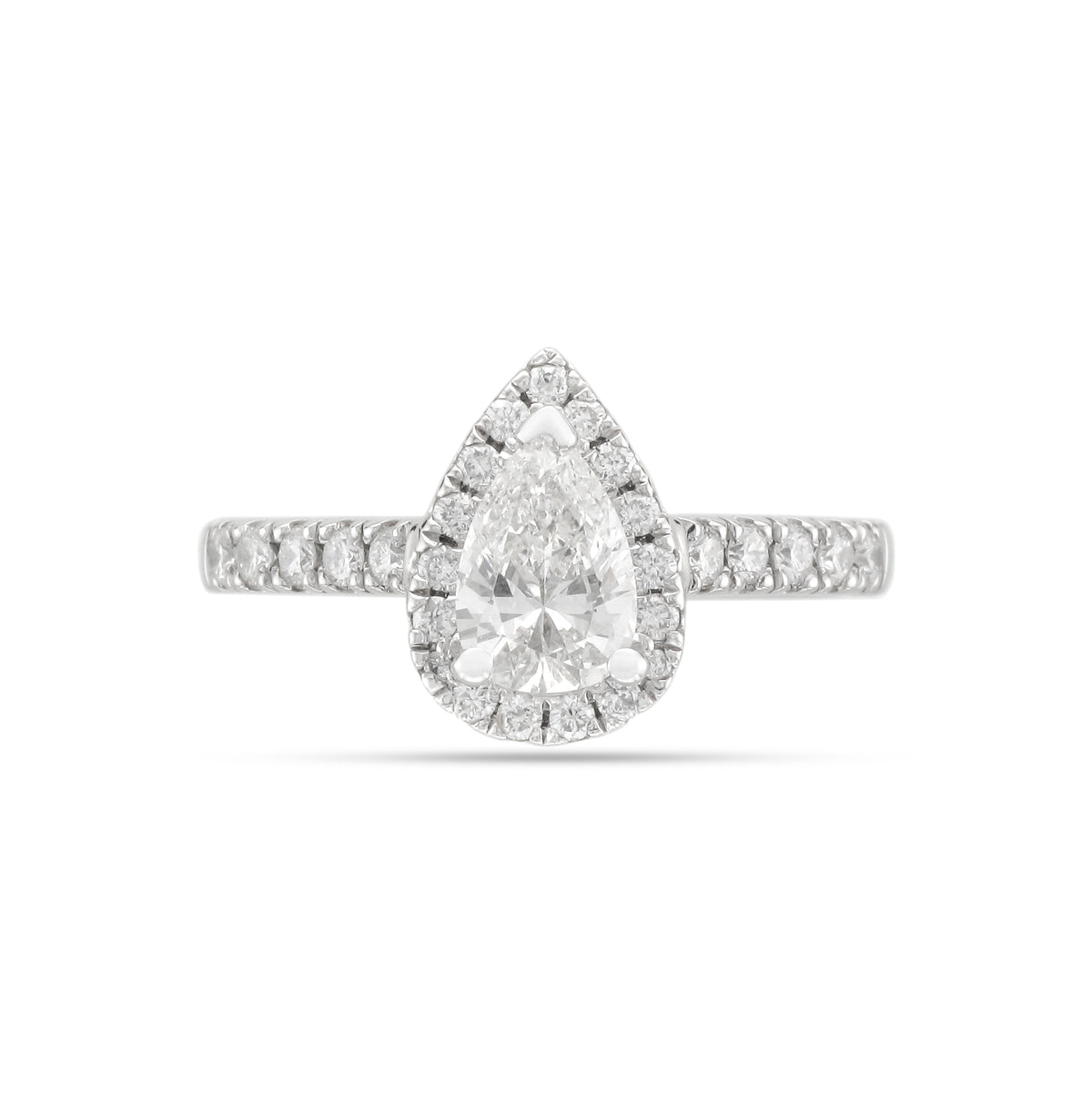 0.70ct Pear-Cut Diamond Halo Engagement Ring