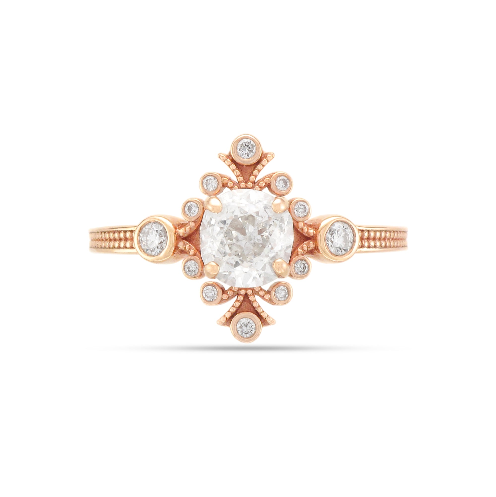 0.99ct Cushion-Cut Vintage Inspired Diamond Engagement Ring