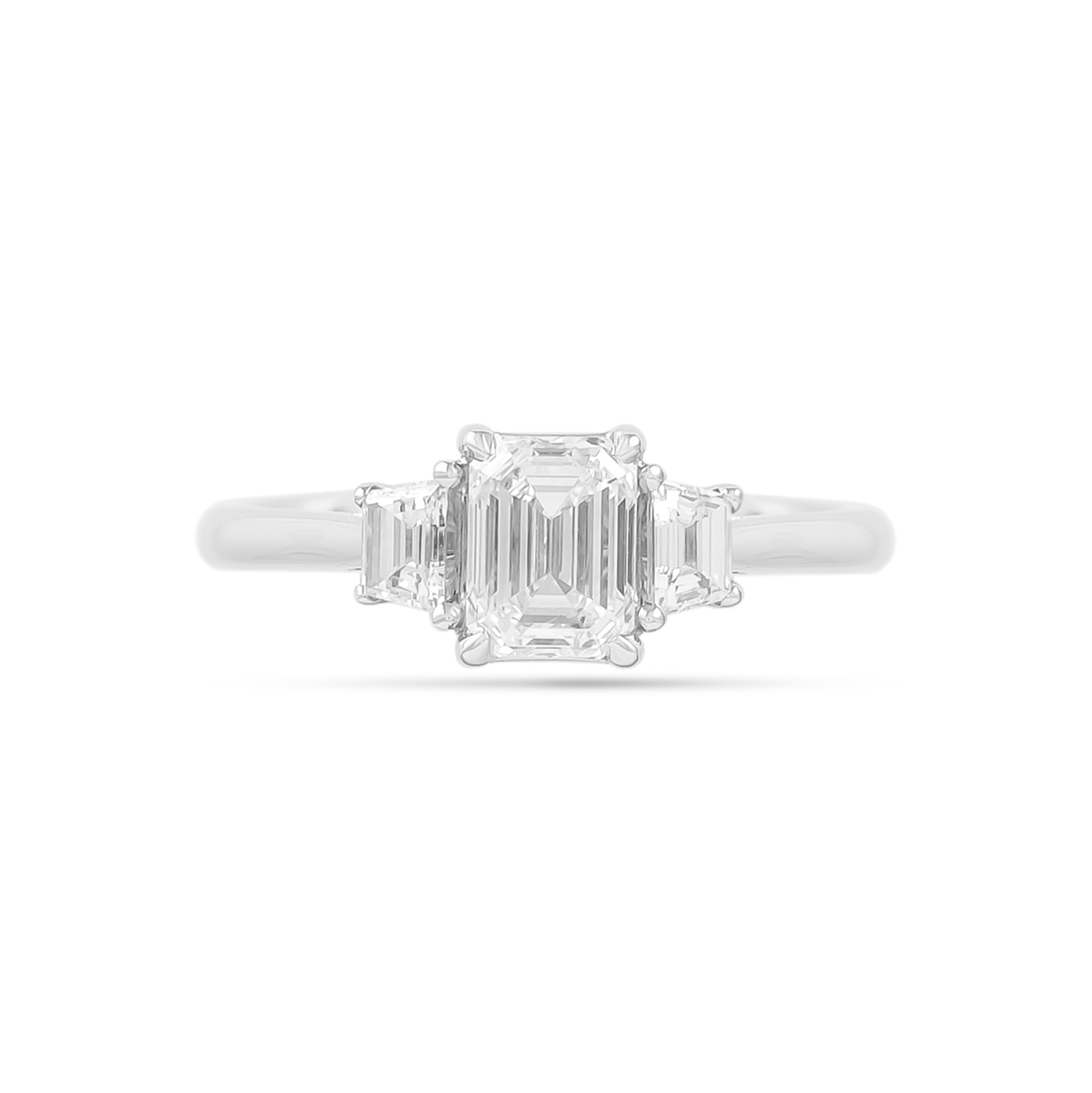1.01ct Emerald-Cut Three Stone Diamond Engagement Ring