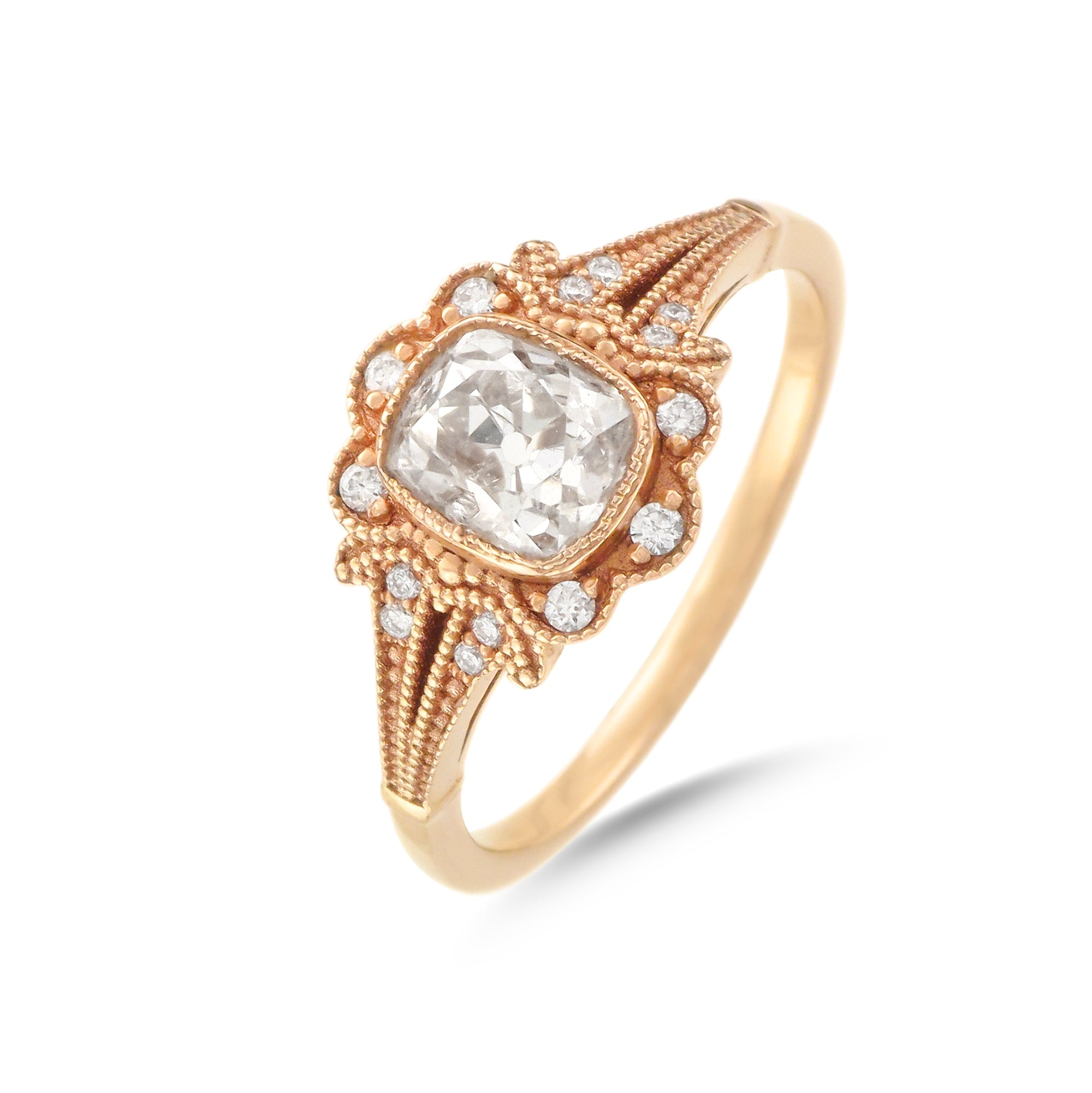 1.18ct Cushion-Cut Vintage Inspired Diamond Engagement Ring