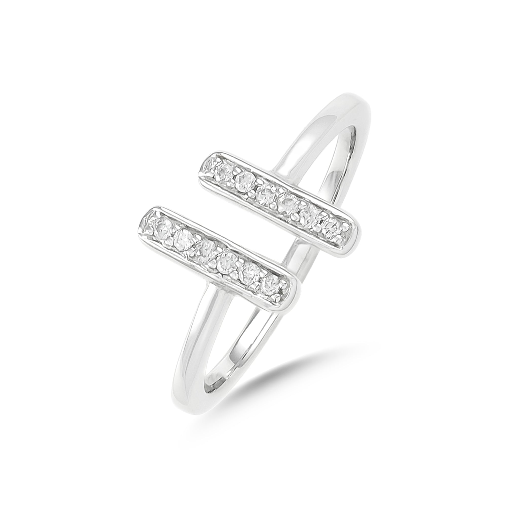 14ct White Gold Diamond Double Bar Torque Ring