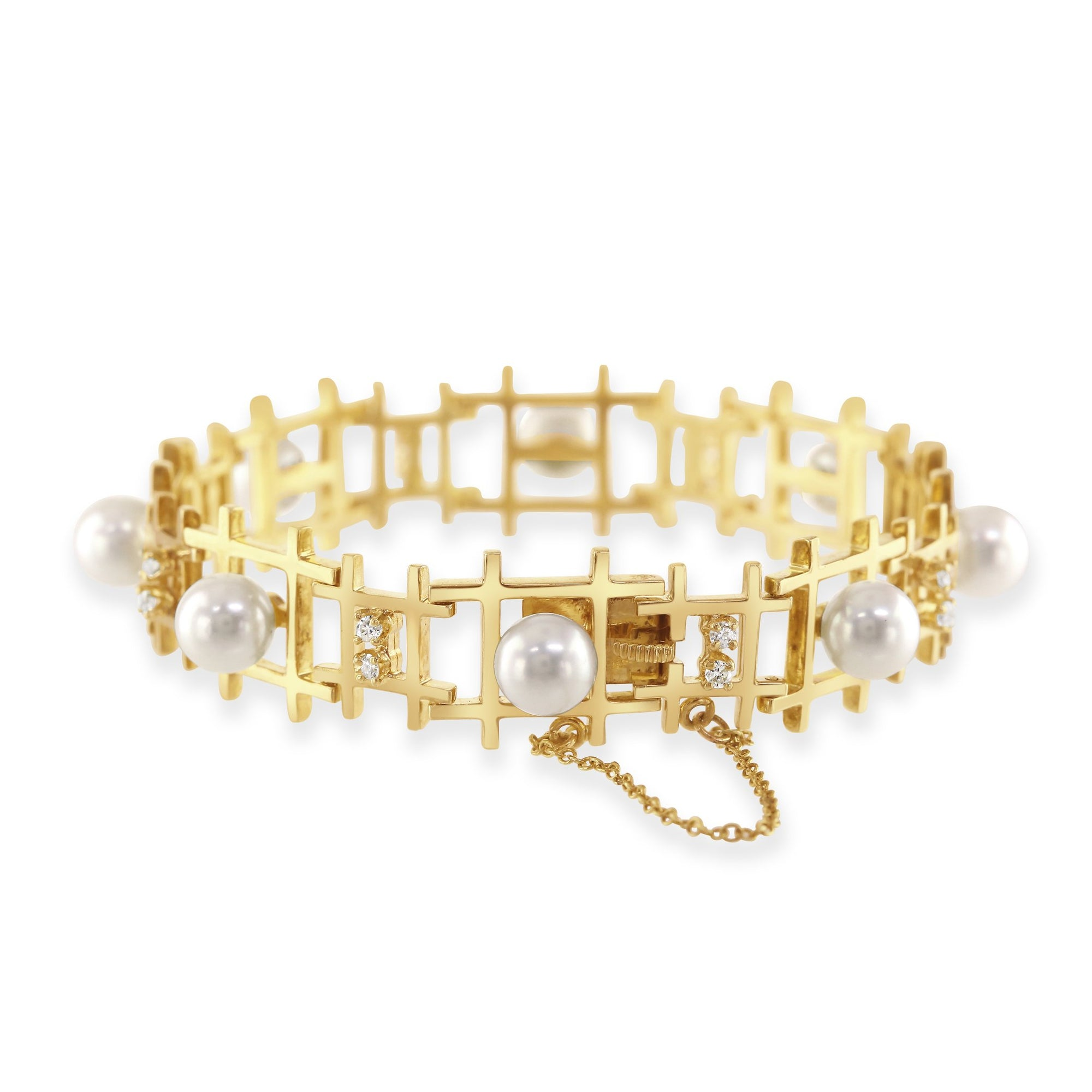 14ct Yellow Gold Pearl and Diamond Bracelet