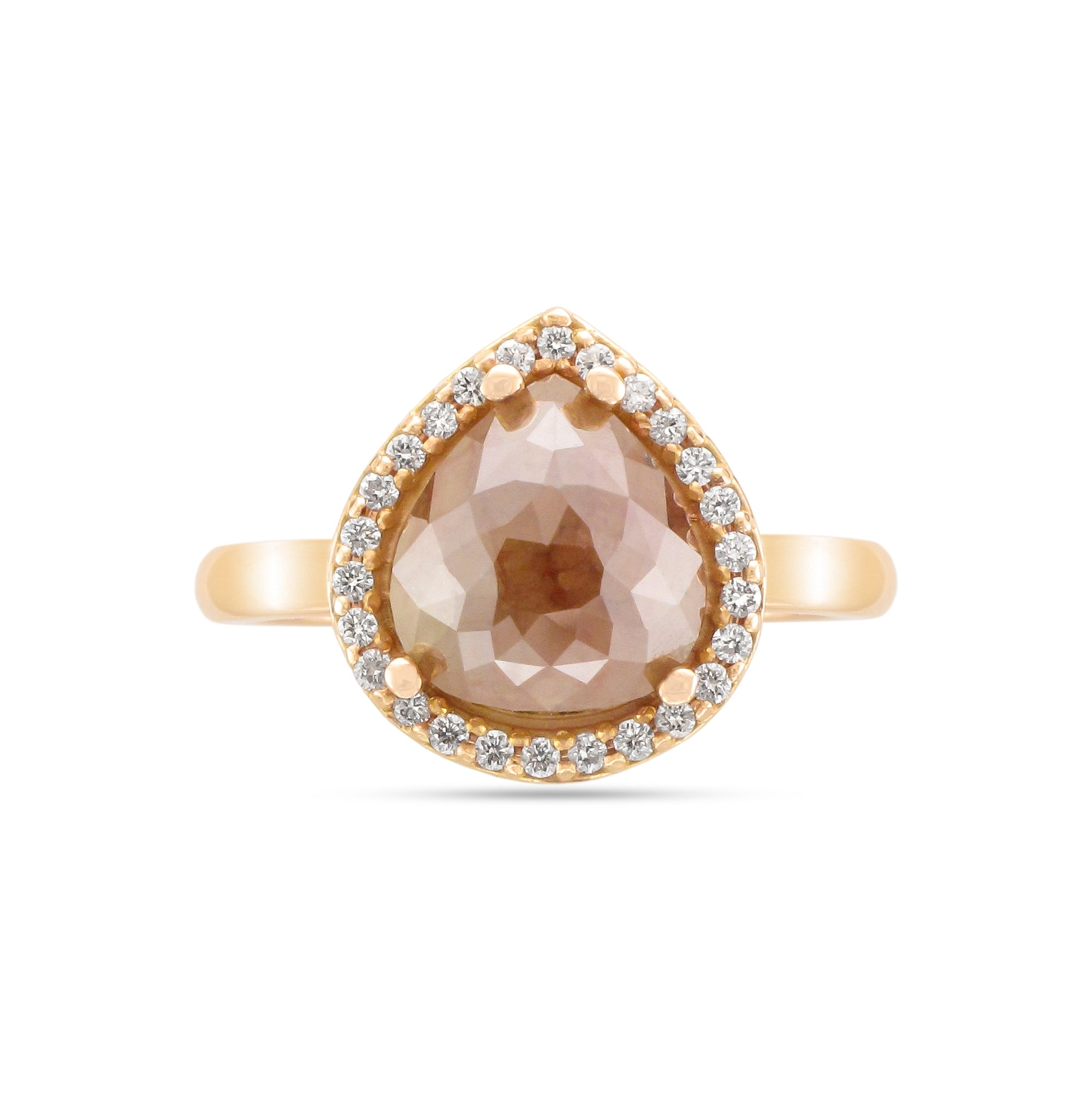 18ct Rose Gold Brown Diamond Halo Ring