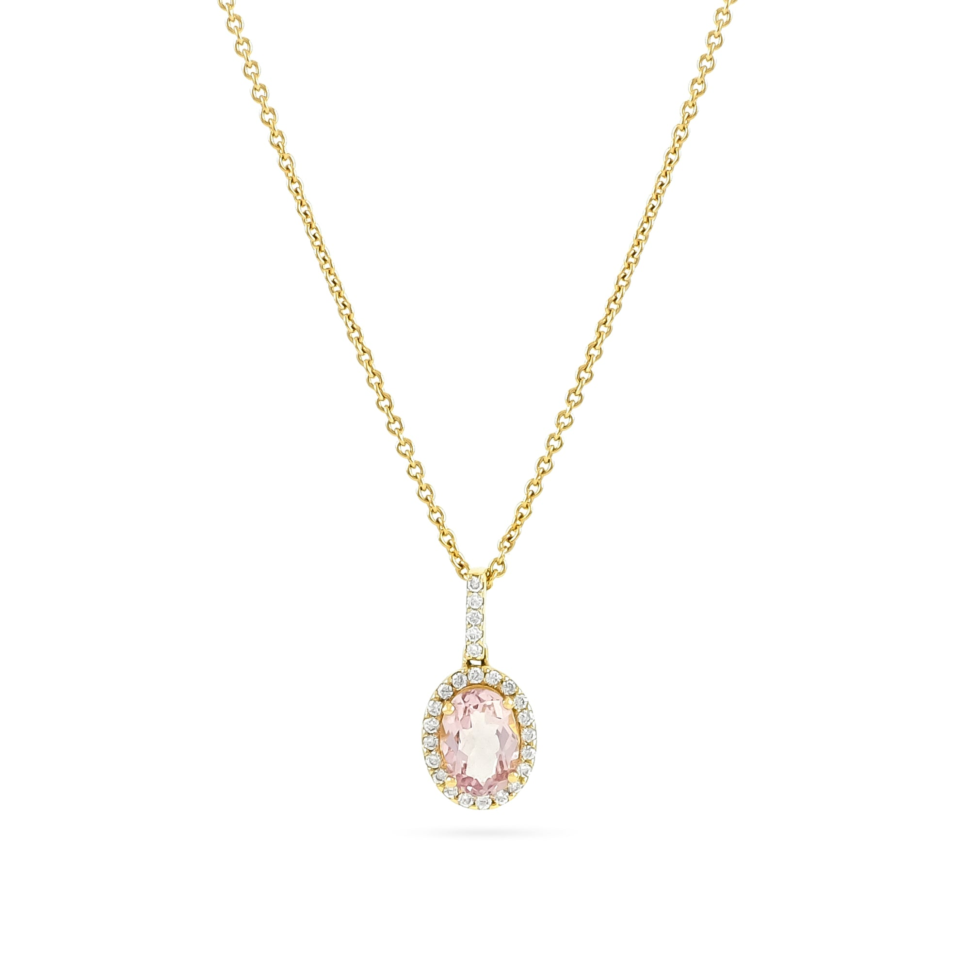 18ct Rose Gold Morganite and Diamond Cluster Pendant