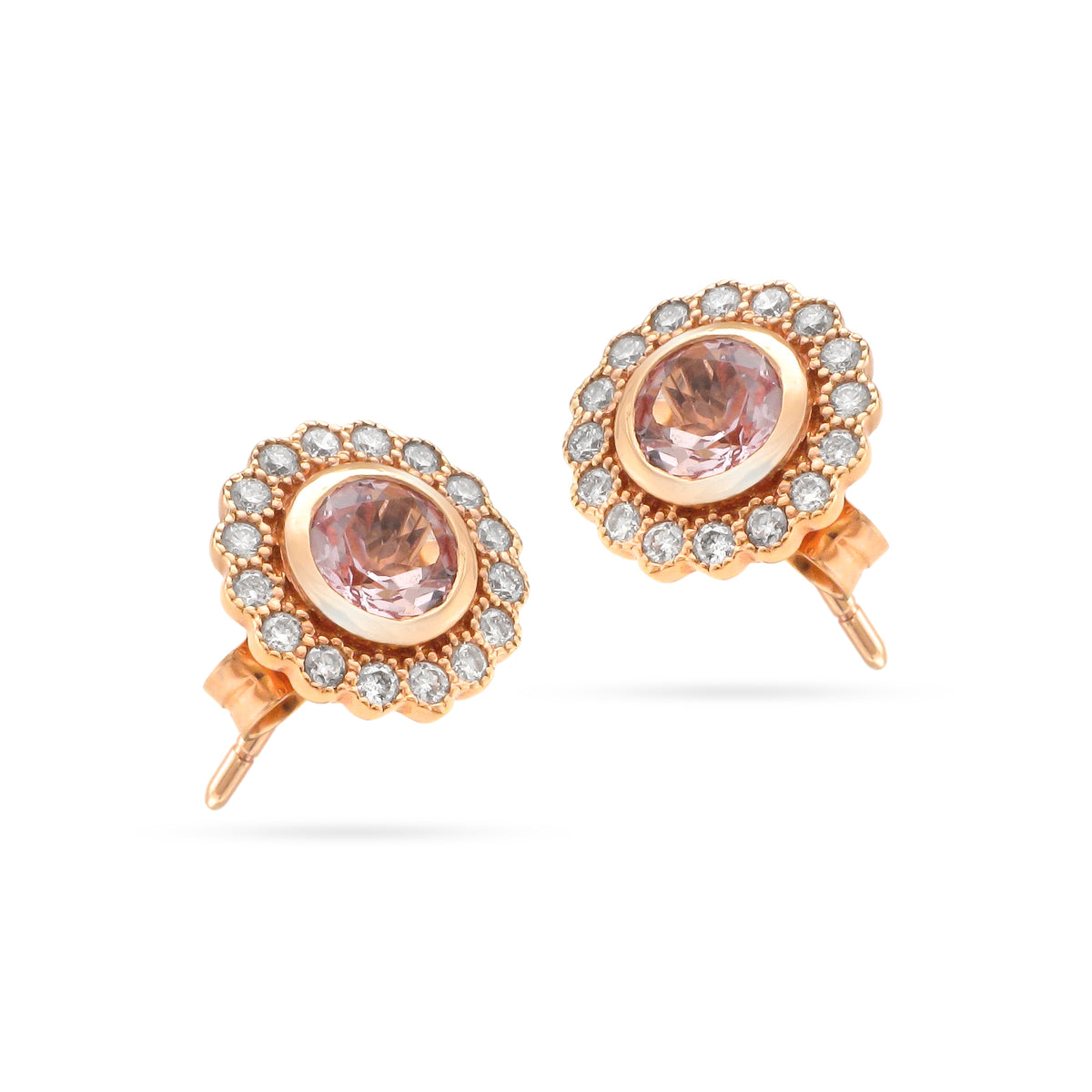 18ct Rose Gold Morganite and Diamond Cluster Studs