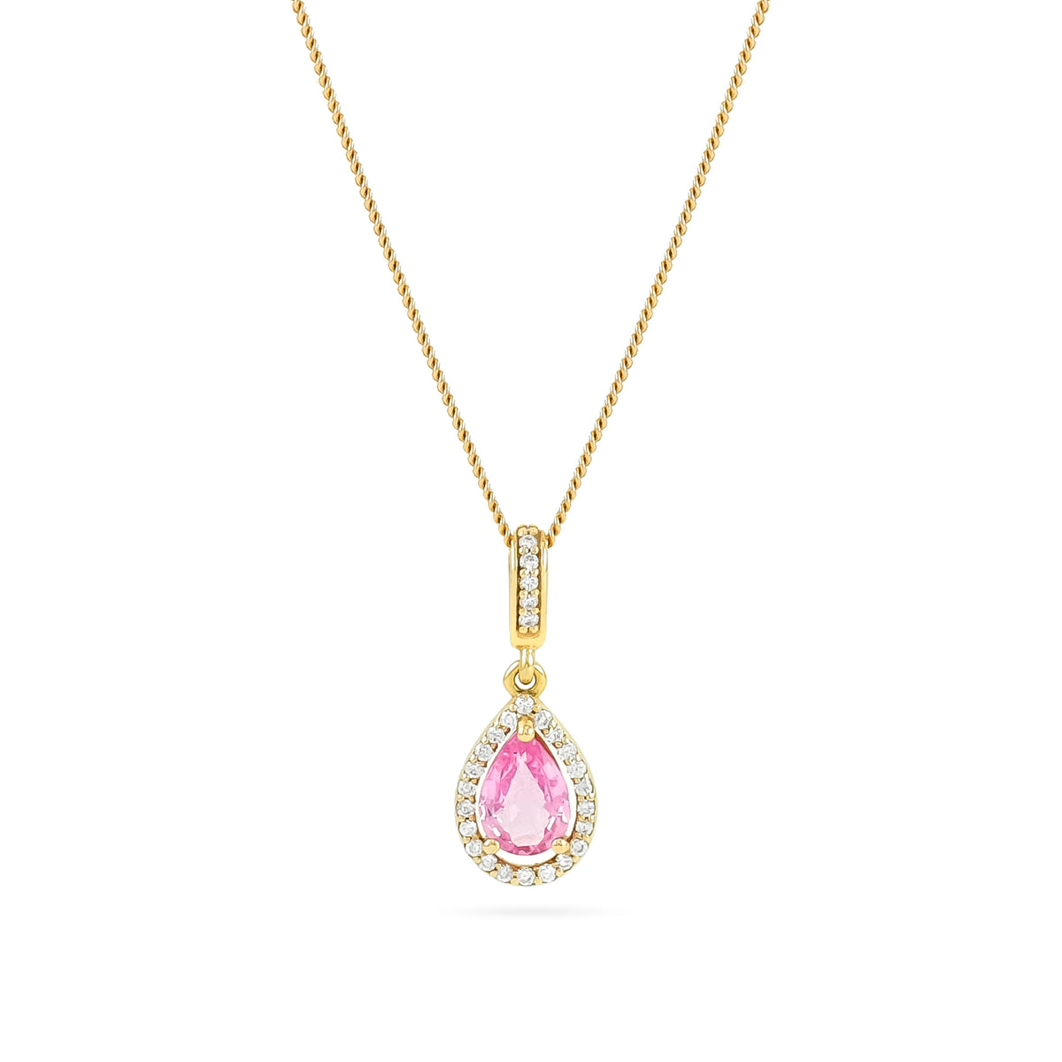 18ct Rose Gold Pink Sapphire and Diamond Pendant