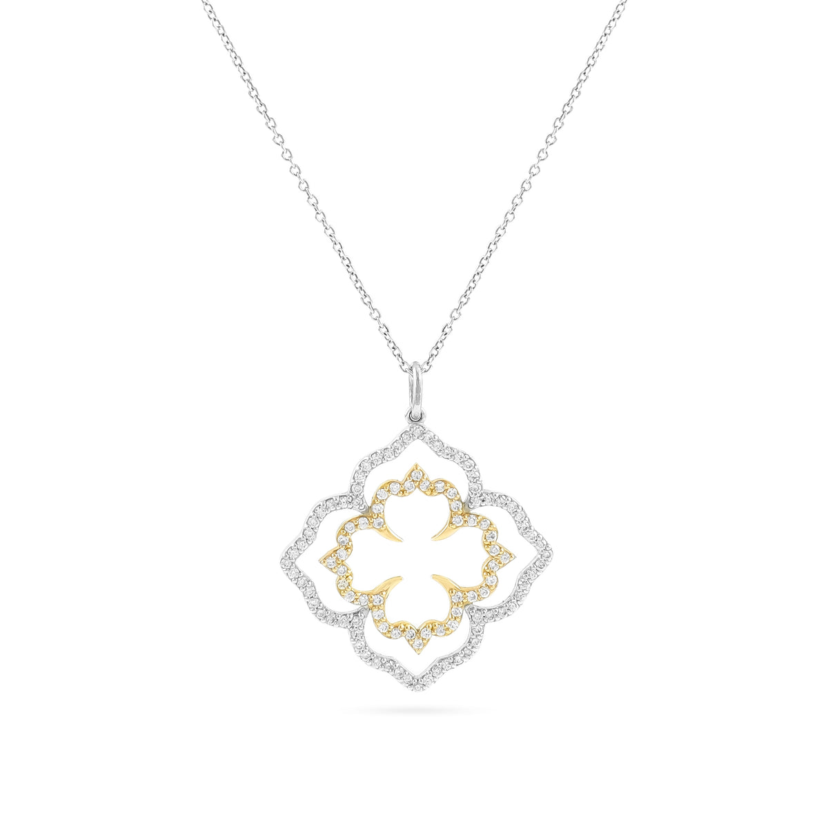 18ct Two Colour Diamond Eden Pendant