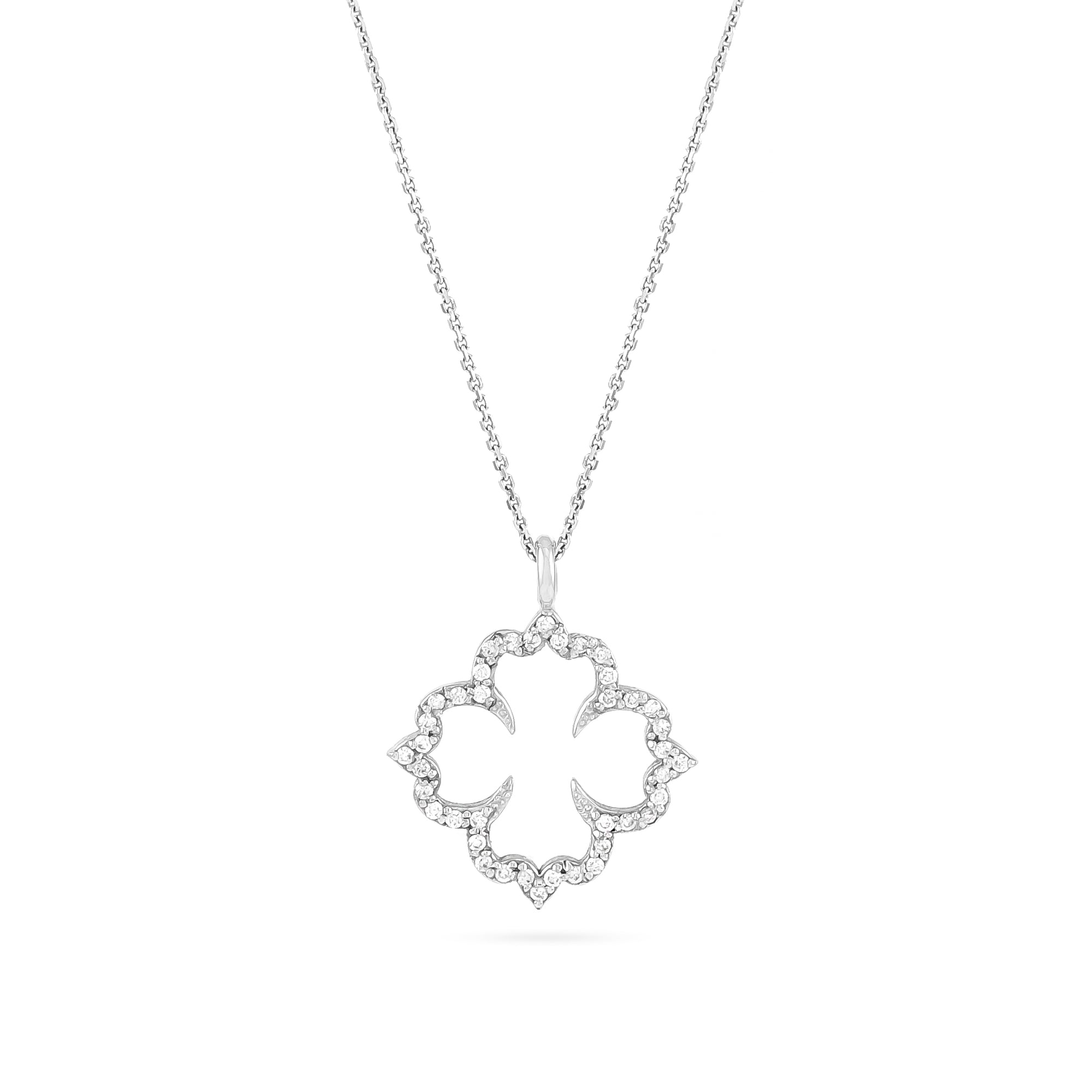18ct White Gold Diamond Cathedral Pendant
