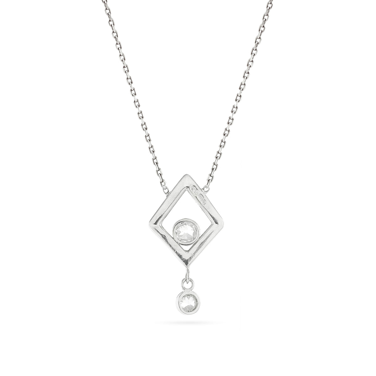 18ct White Gold Diamond Drop Pendant