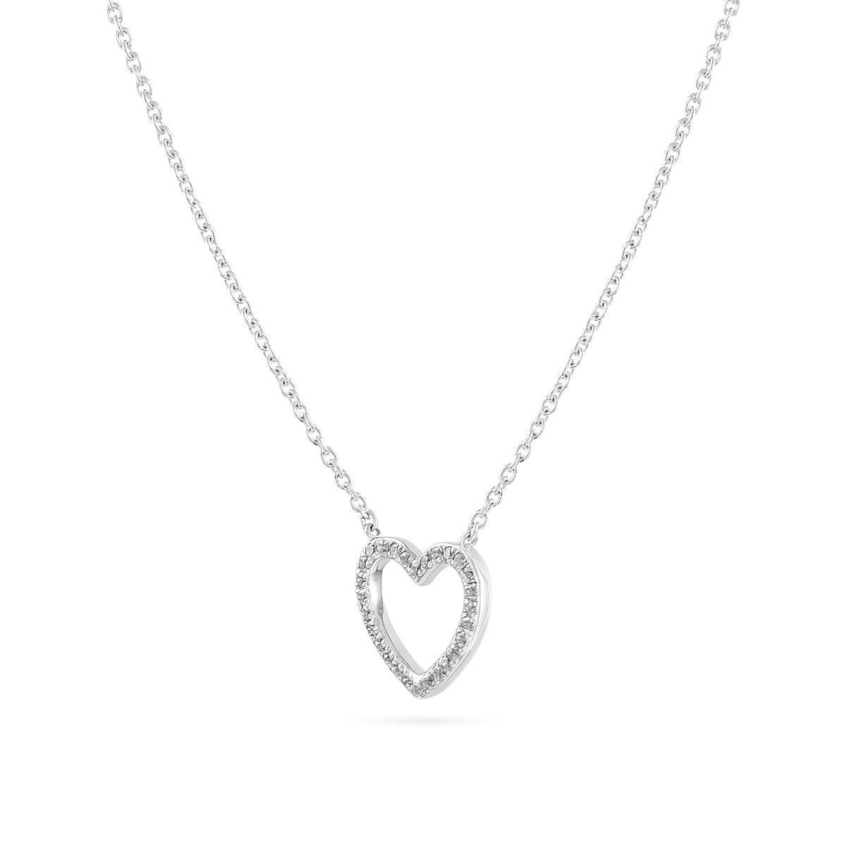 18ct White Gold Diamond Heart Necklace