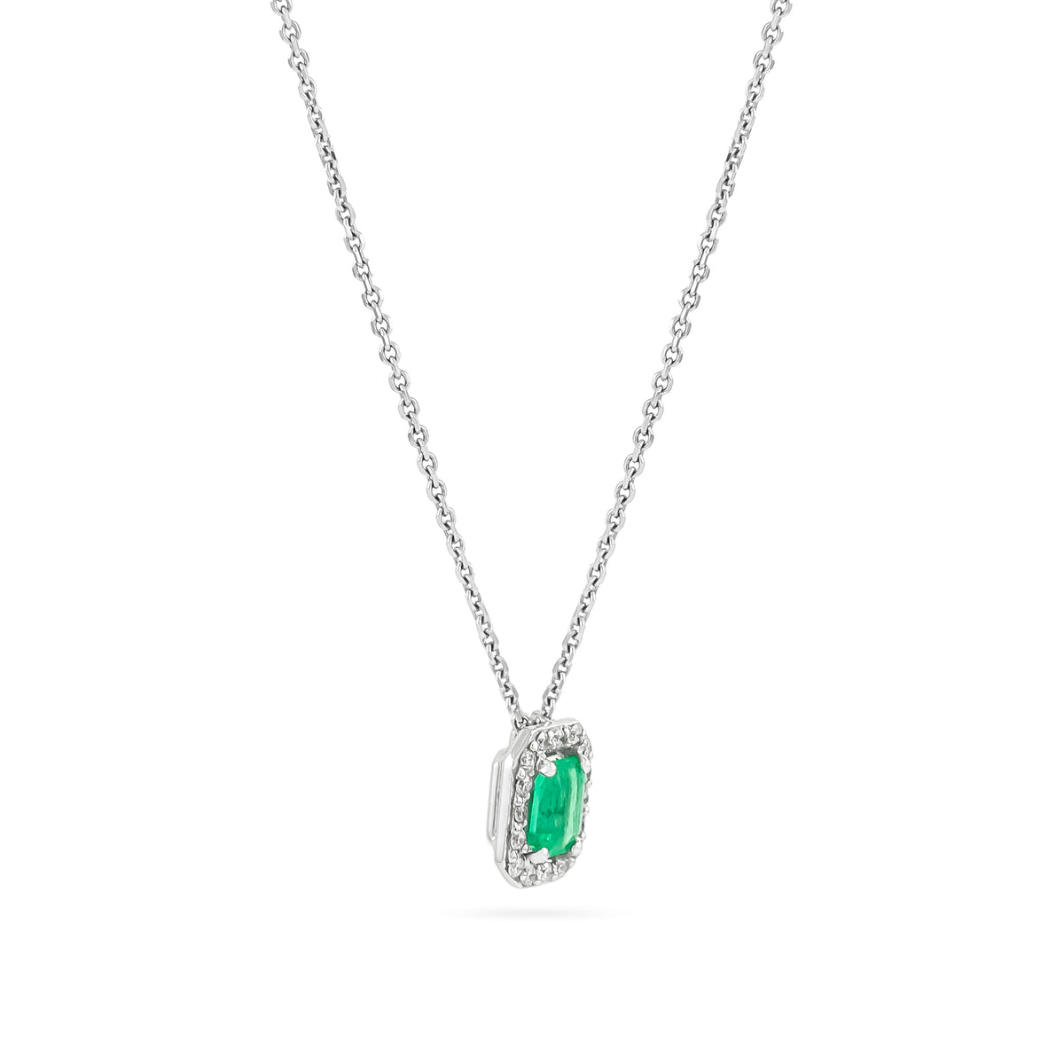 18ct White Gold Emerald and Diamond Cluster Pendant