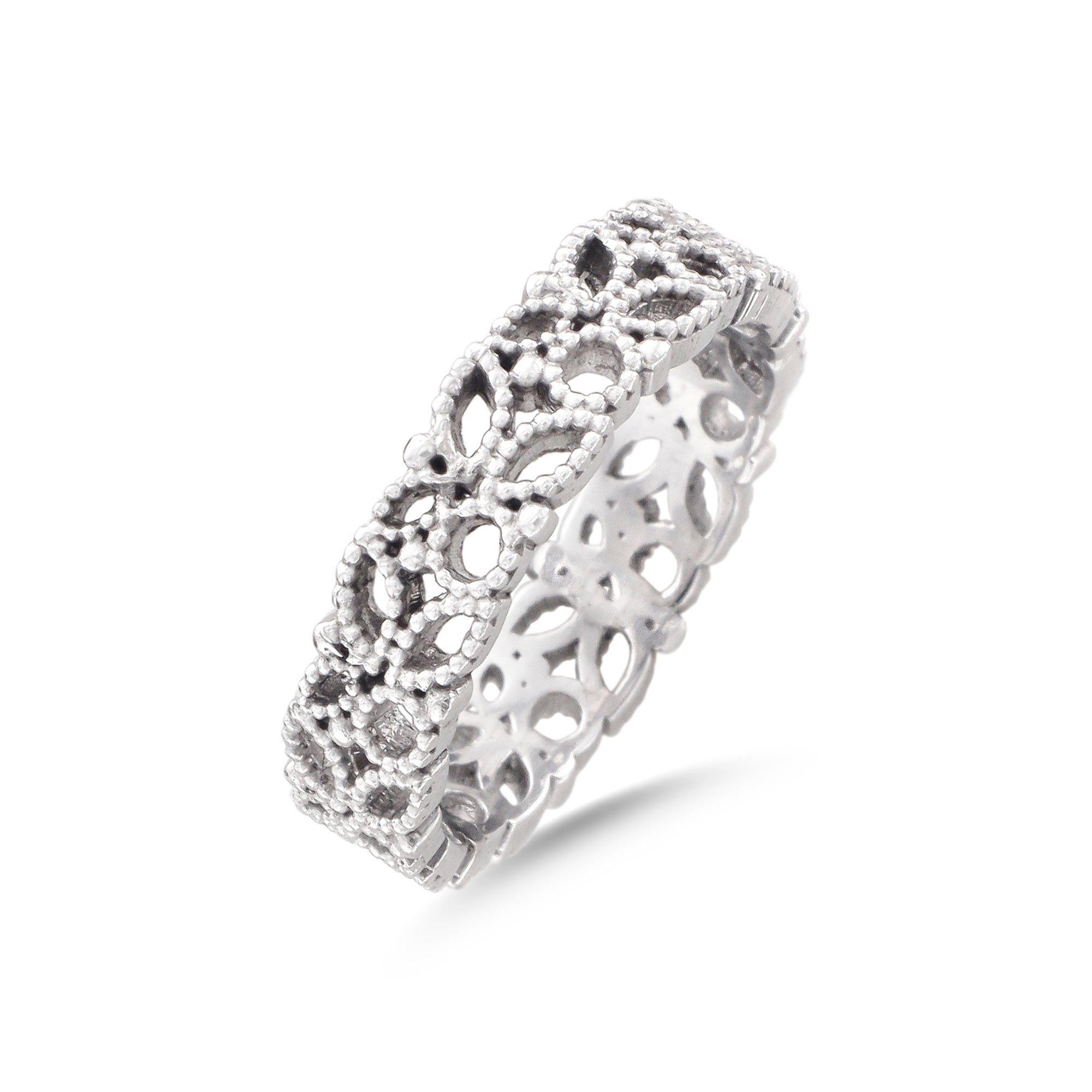 18ct White Gold Filigree Lace Ring