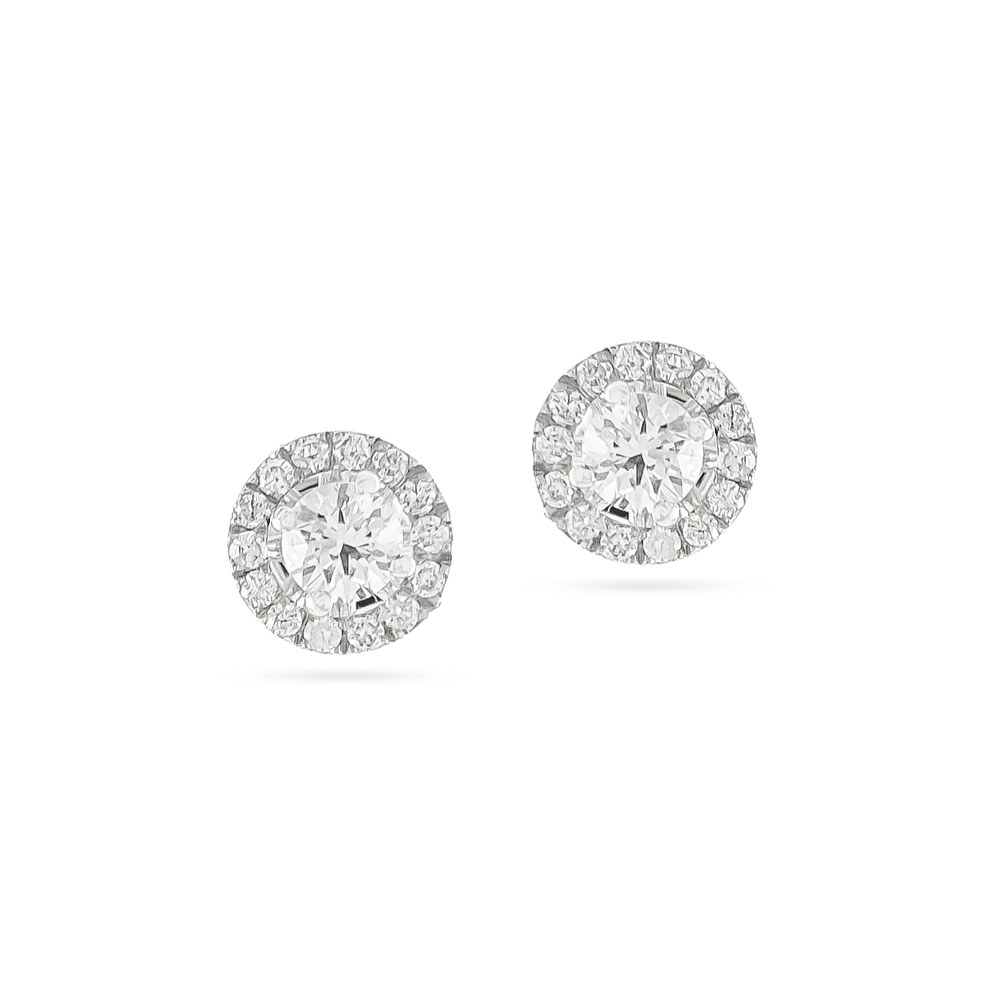 18ct White Gold Halo Diamond Stud Earrings