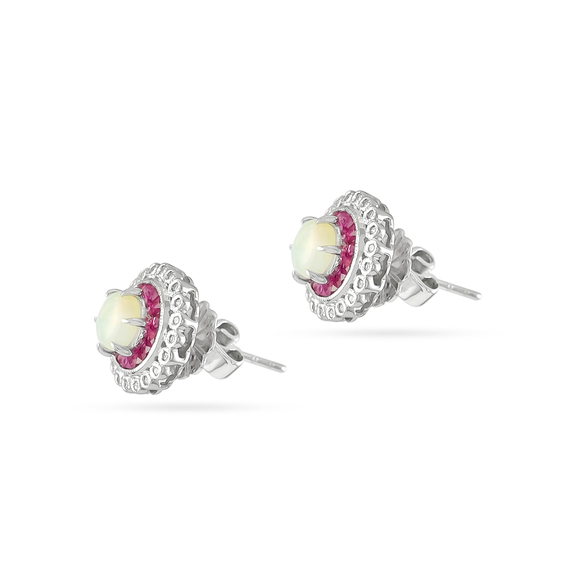 18ct White Gold Opal, Ruby and Diamond Cluster Studs