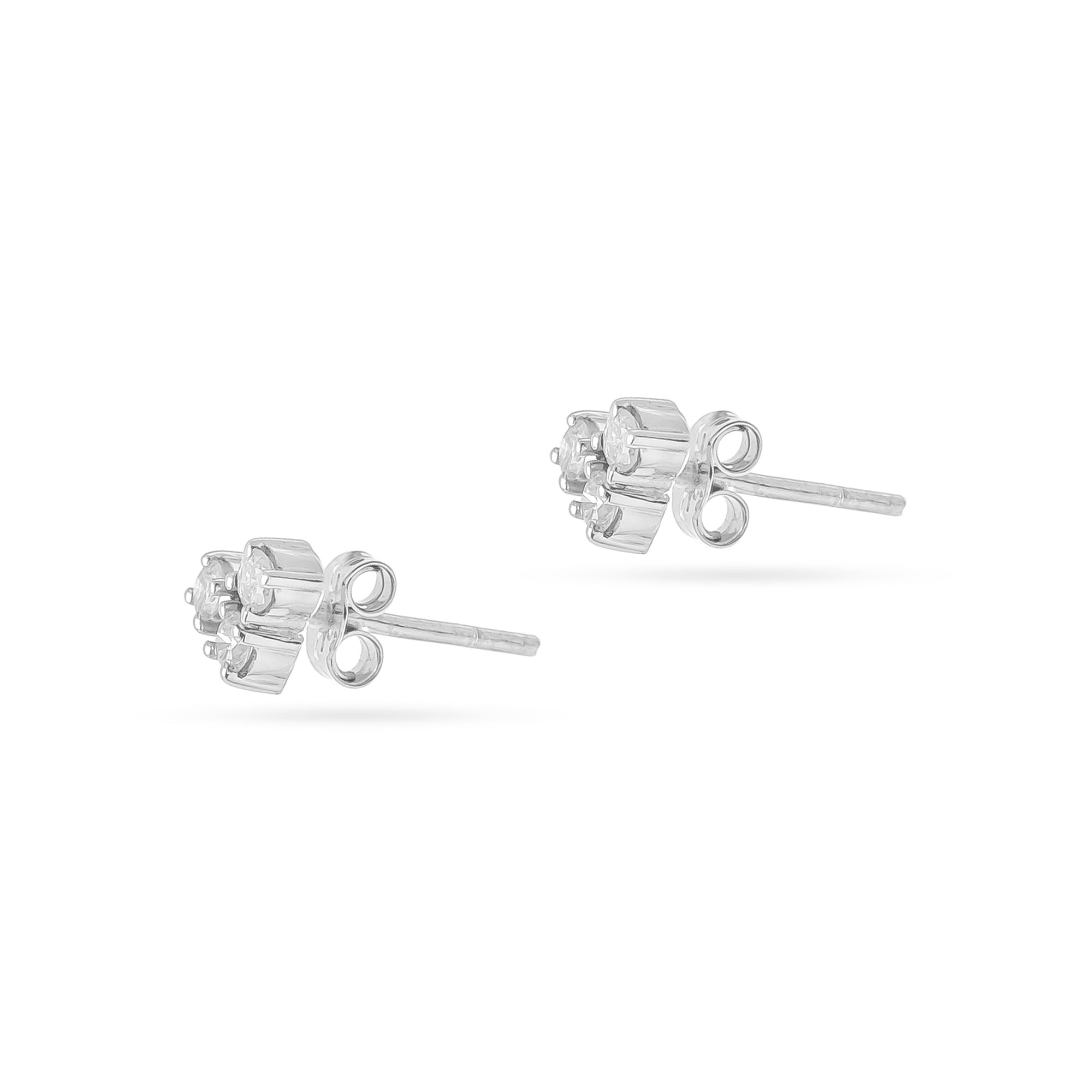 18ct White Gold Three Diamond Stud Earrings