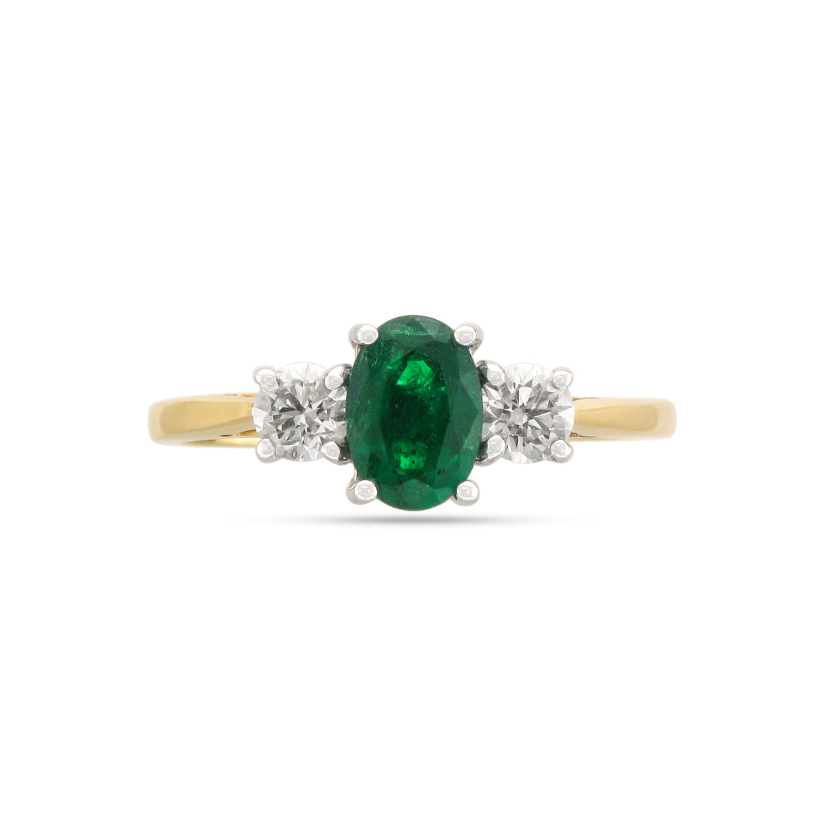 18ct Yellow Gold Emerald and Diamond Three Stone Ring