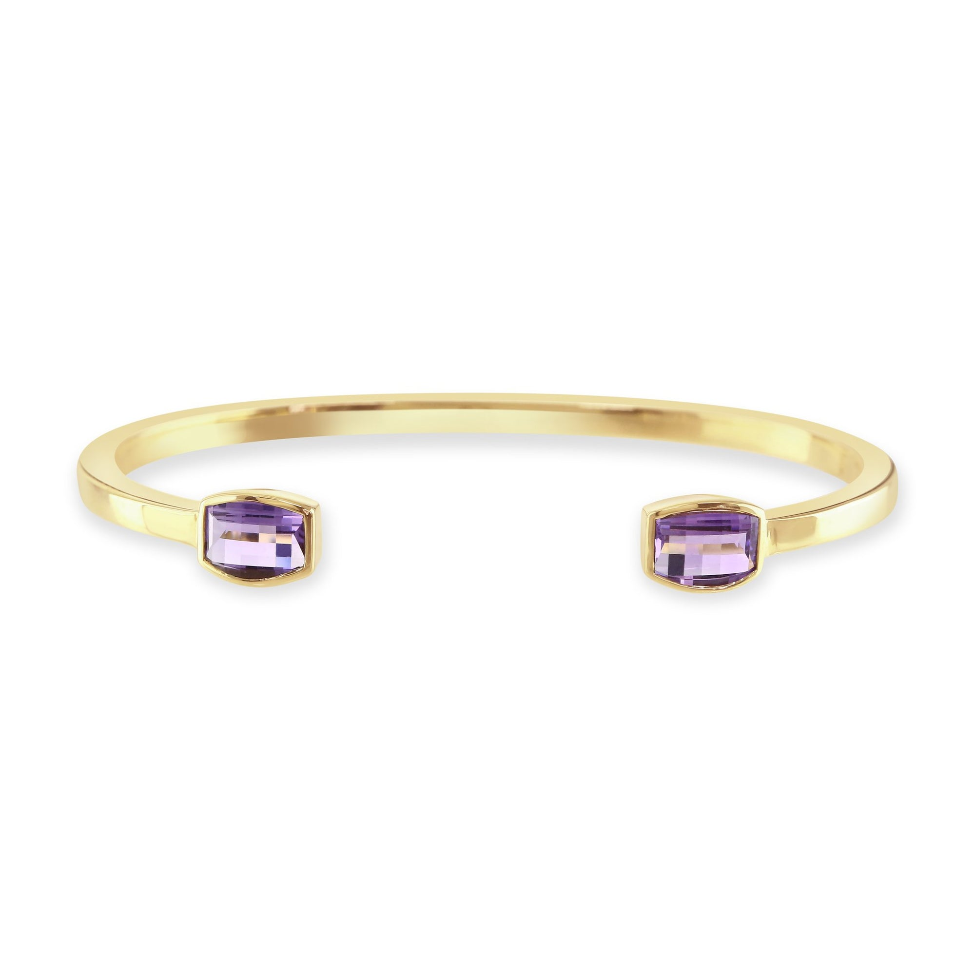 18ct Yellow Gold Amethyst Torque Bangle