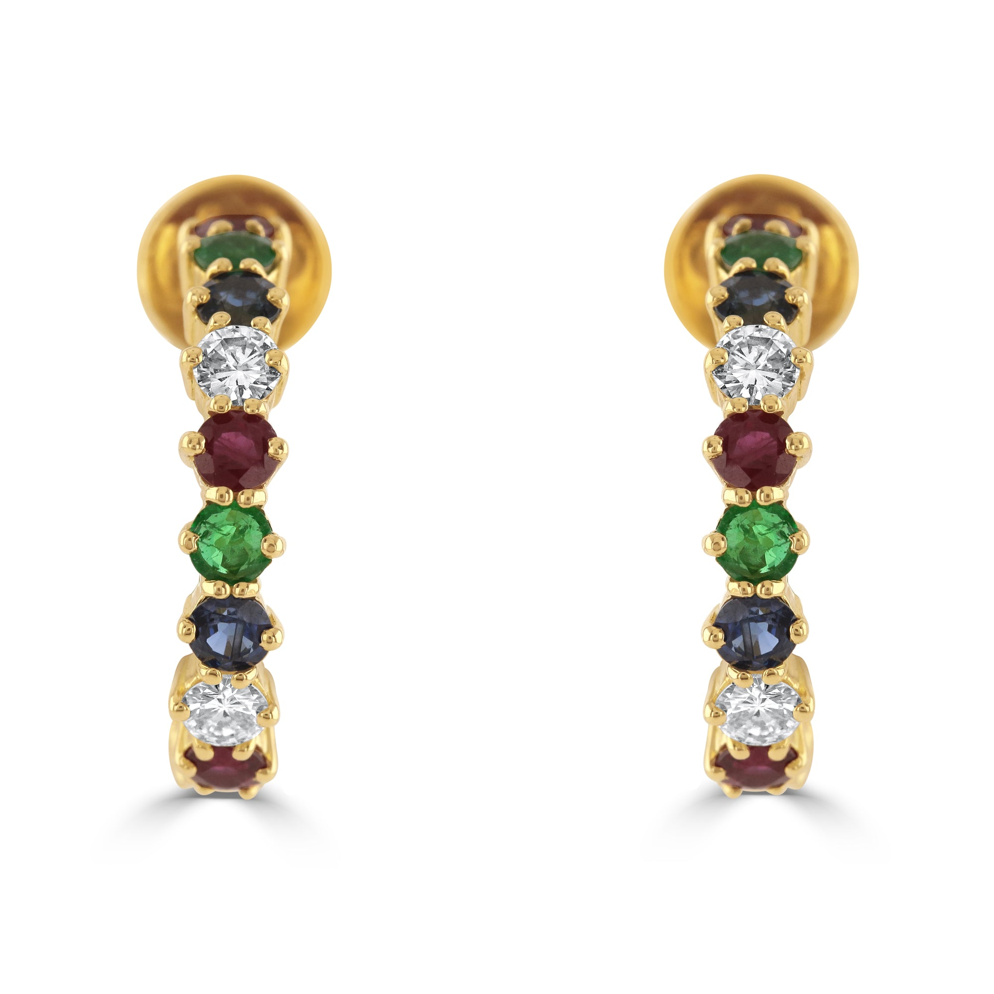 Vintage 18ct Yellow Gold Multi-Gem Hoop Earrings