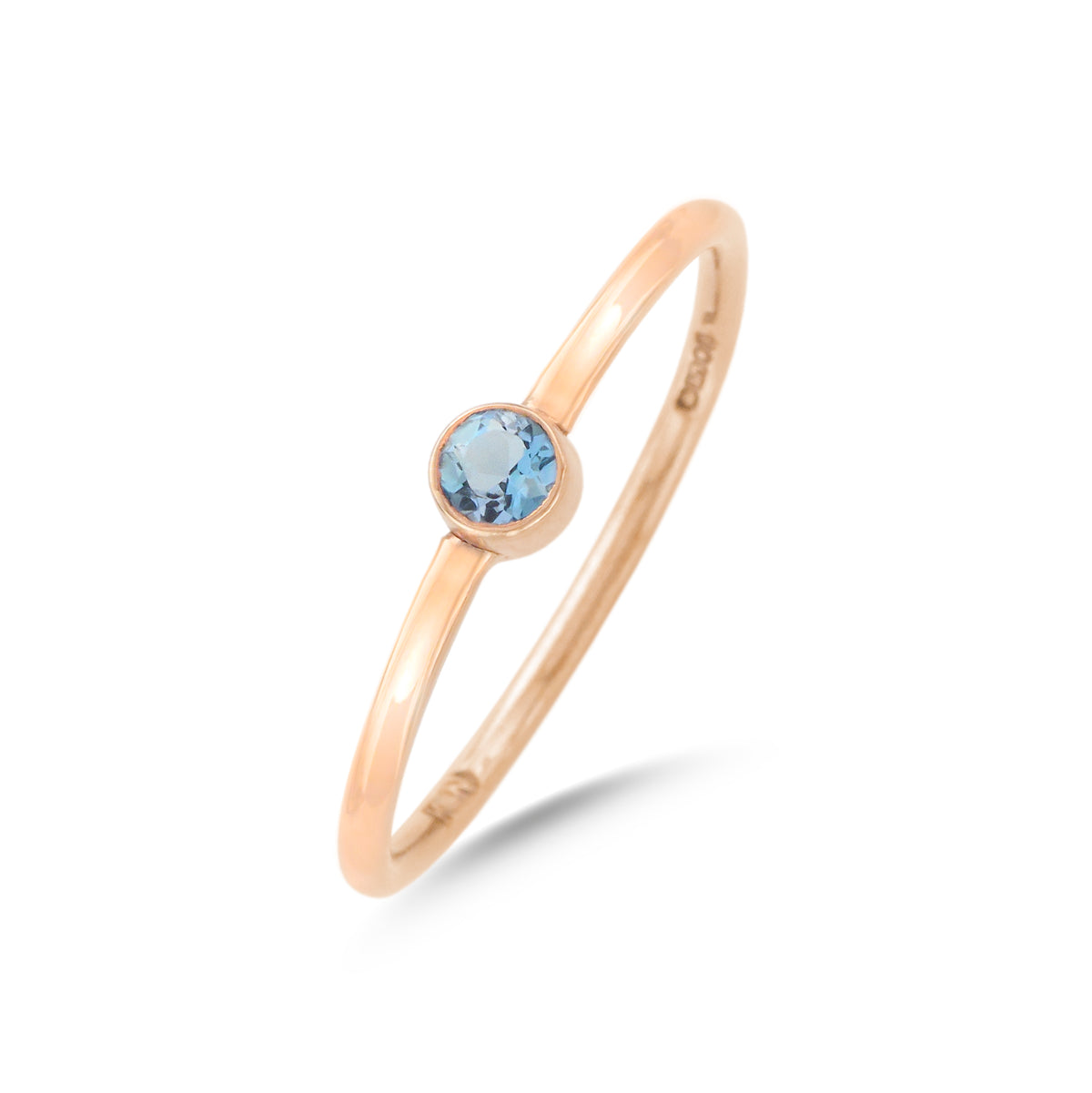 9ct Rose Gold Aquamarine Stacking Ring