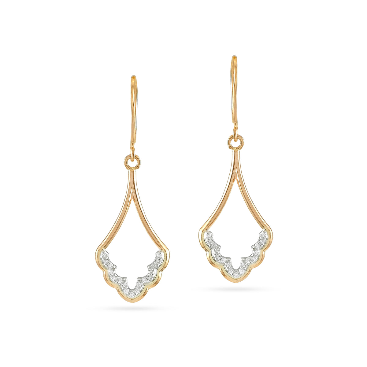 9ct Rose Gold Diamond Cathedral Drop Earrings