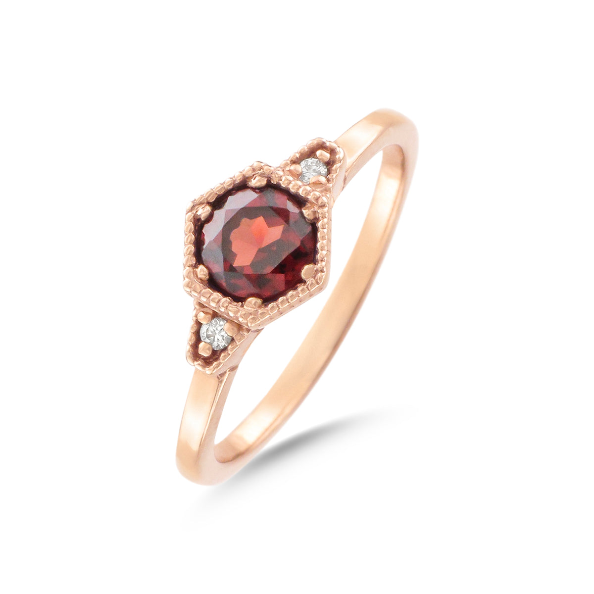 9ct Rose Gold Garnet and Diamond Ring