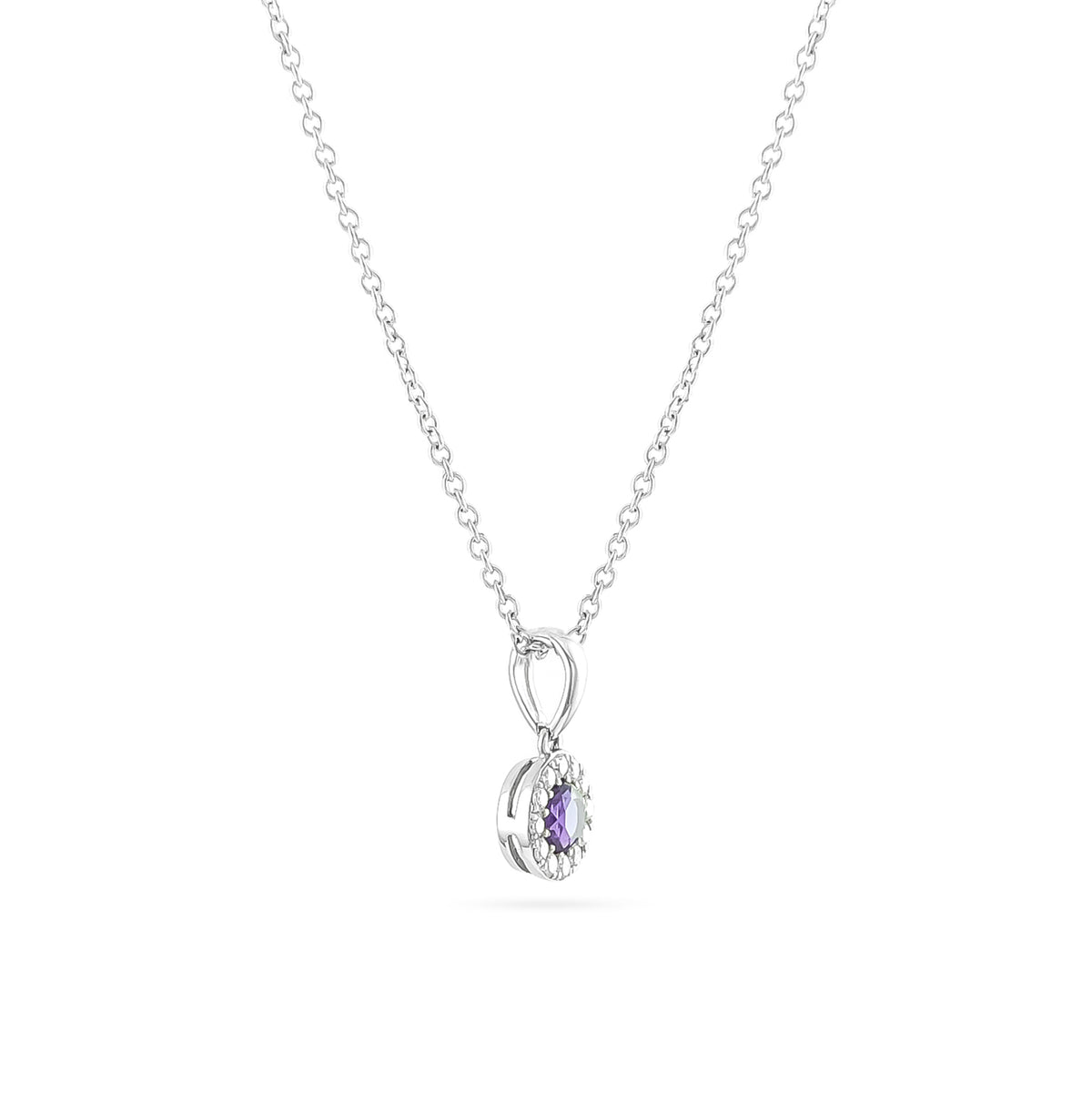 9ct White Gold Amethyst and Diamond Cluster Pendant