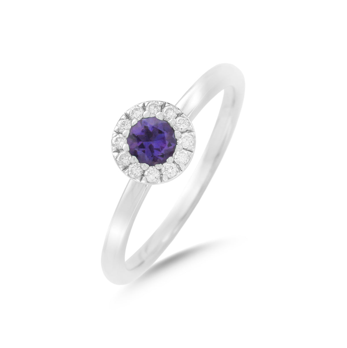 9ct White Gold Amethyst and Diamond Cluster Ring