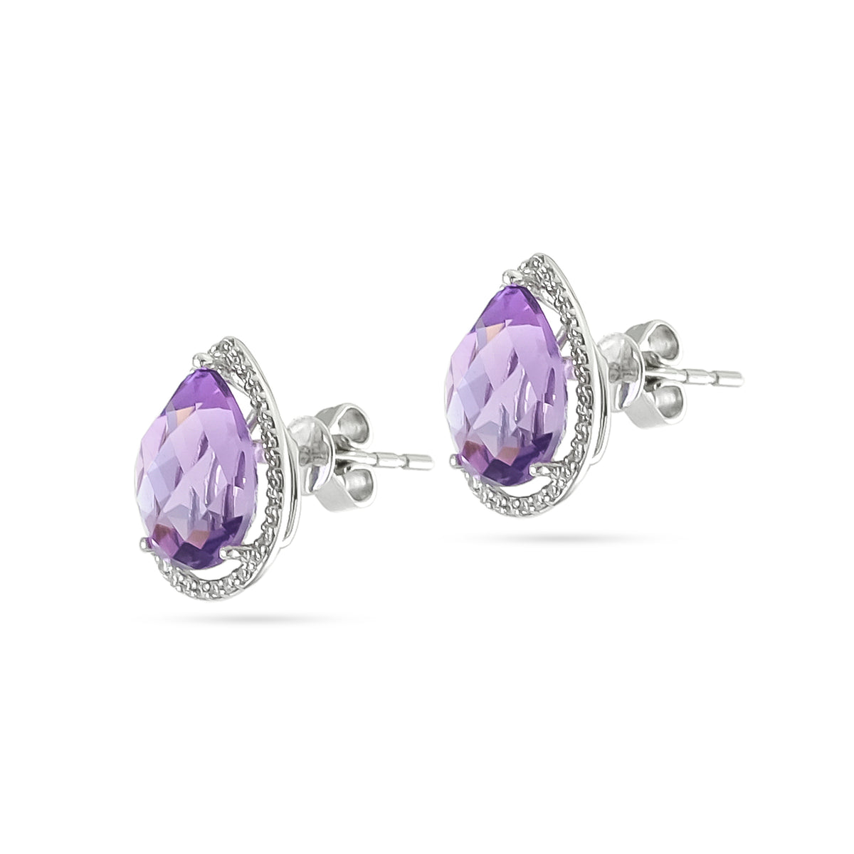 9ct White Gold Amethyst and Diamond Cluster Stud Earrings