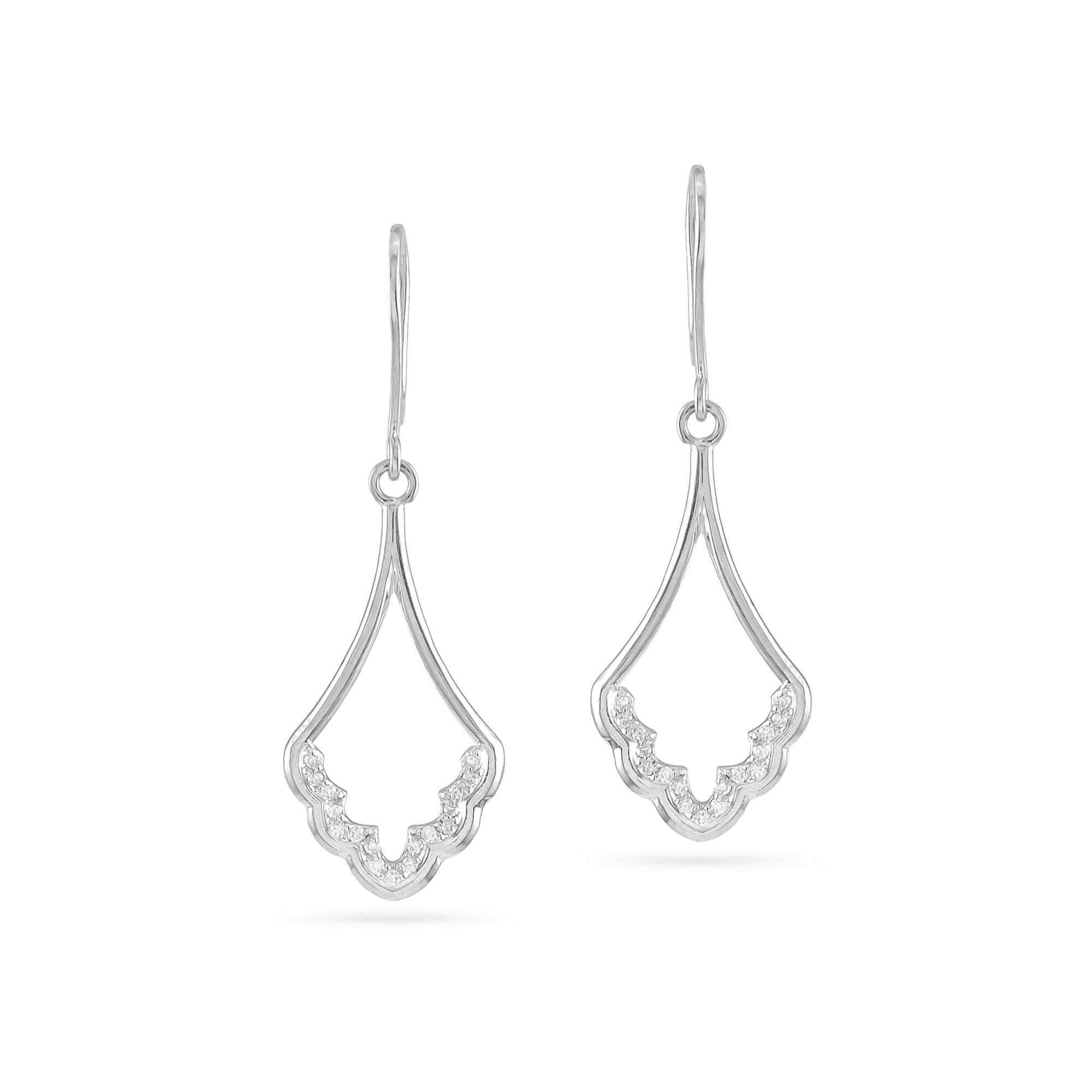9ct White Gold Diamond Cathedral Drop Earrings