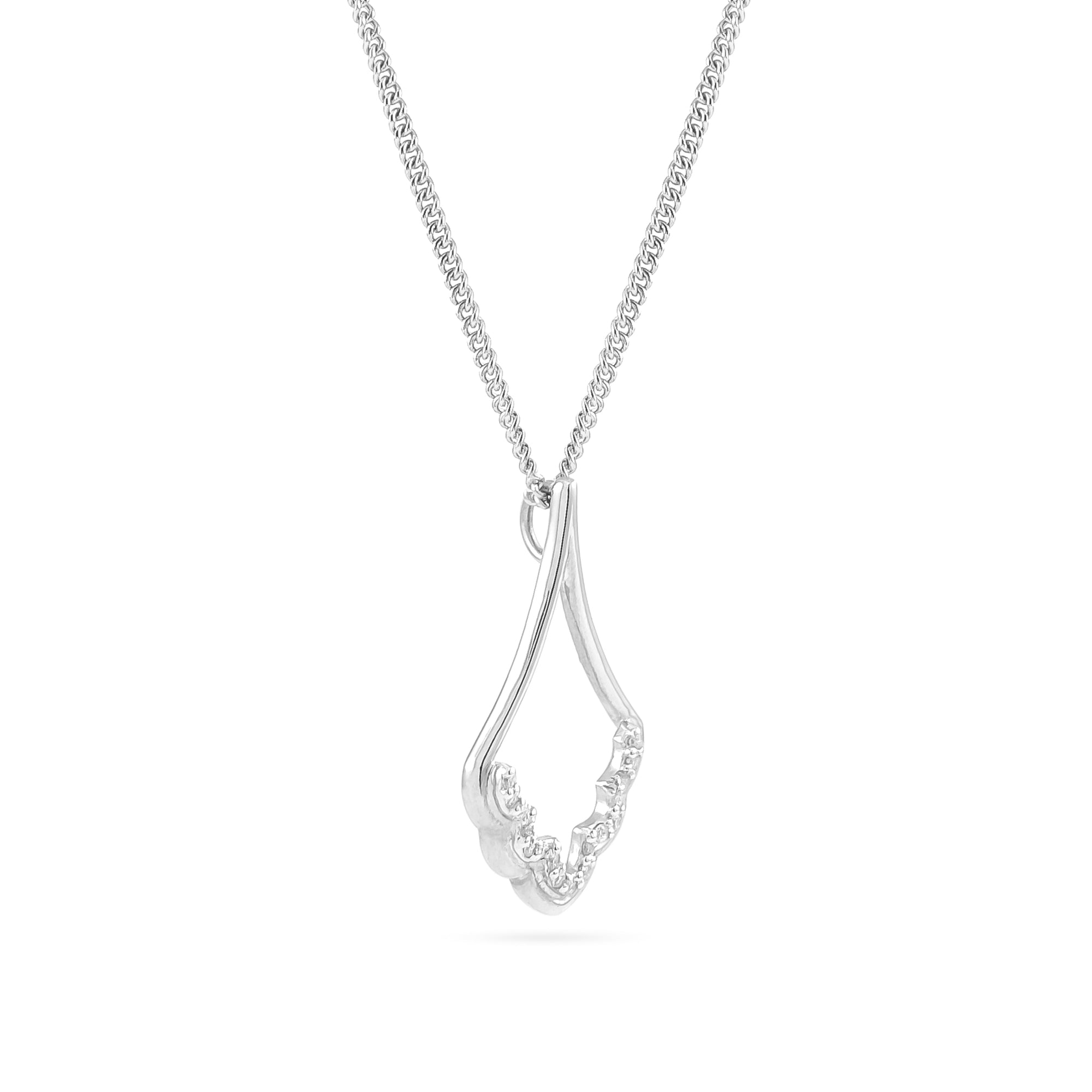 9ct White Gold Diamond Cathedral Pendant