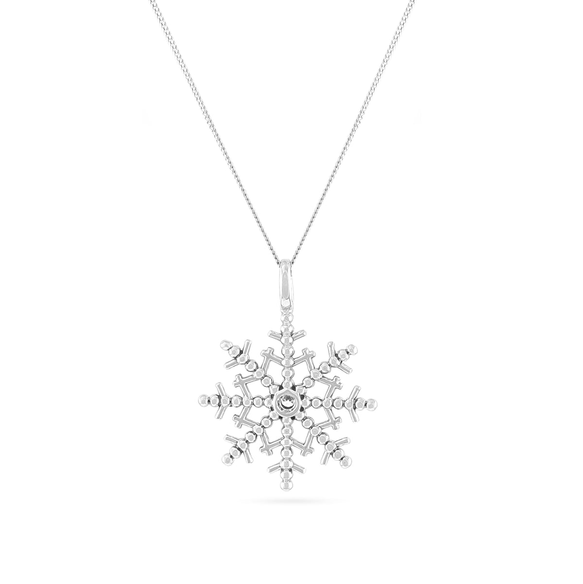 9ct White Gold Diamond Snowflake Pendant