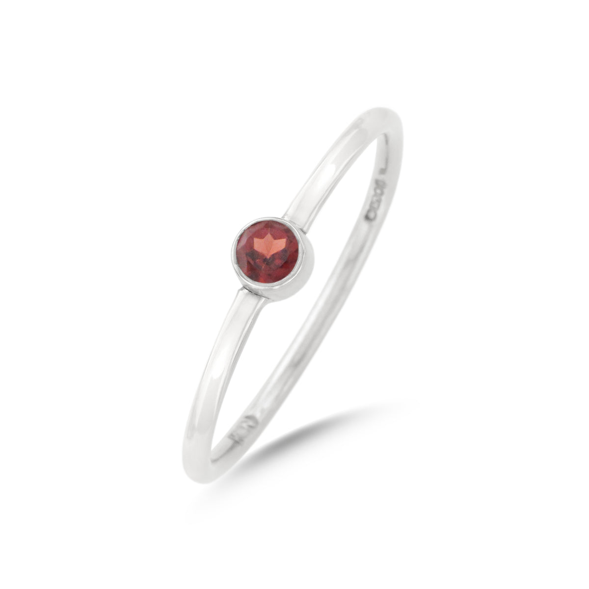 9ct White Gold Garnet Wire Ring