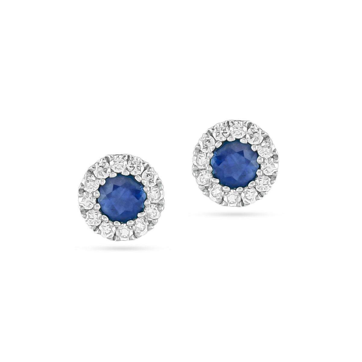 9ct White Gold Sapphire and Diamond Halo Stud Earrings