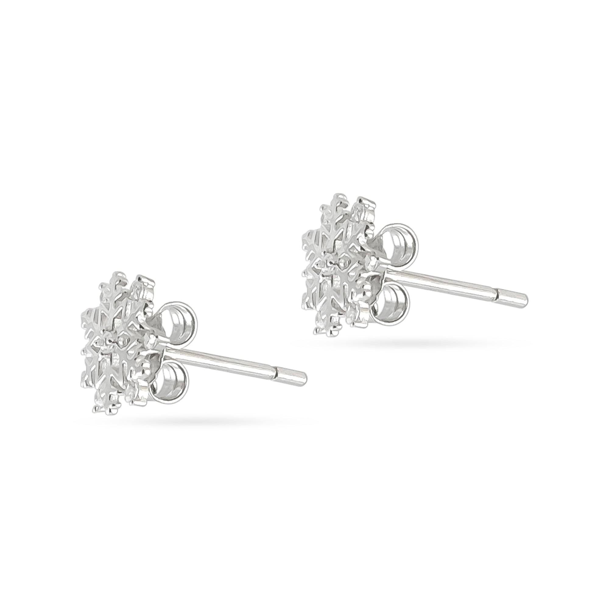 9ct White Gold Snowflake Stud Earrings