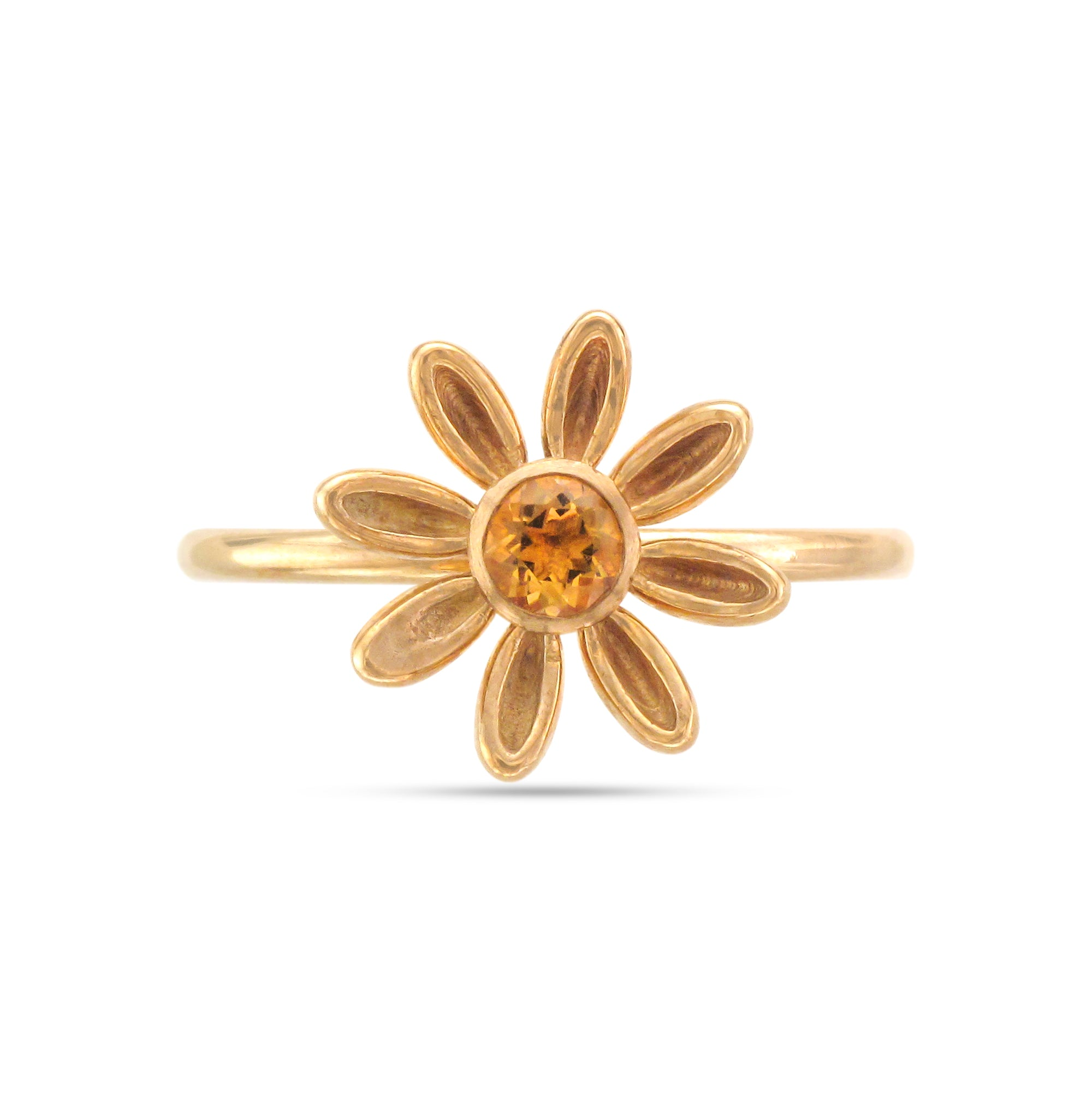 9ct Yellow Gold Citrine Daisy Ring