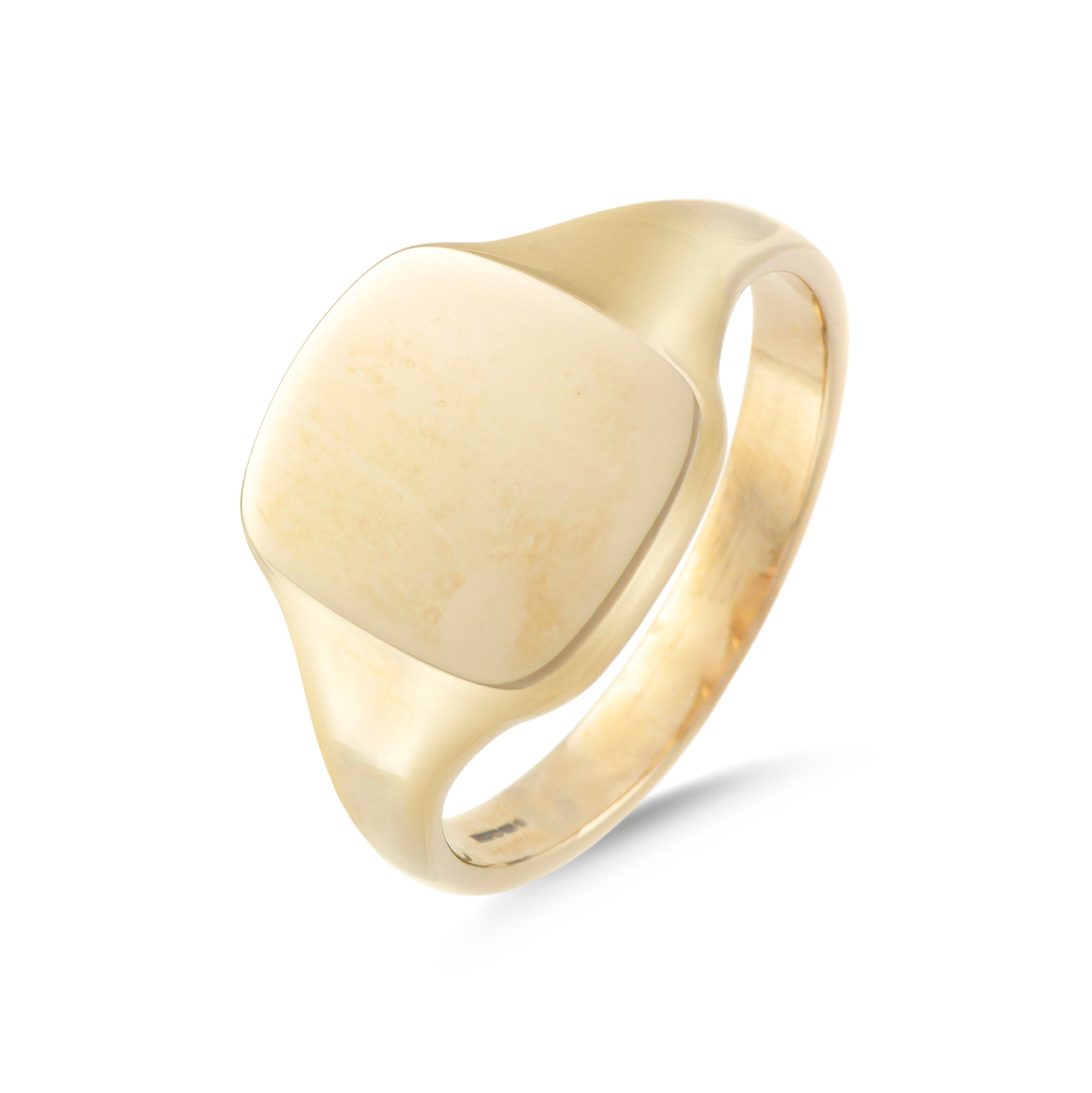 9ct Yellow Gold Cushion Signet Ring 15mm x 13mm