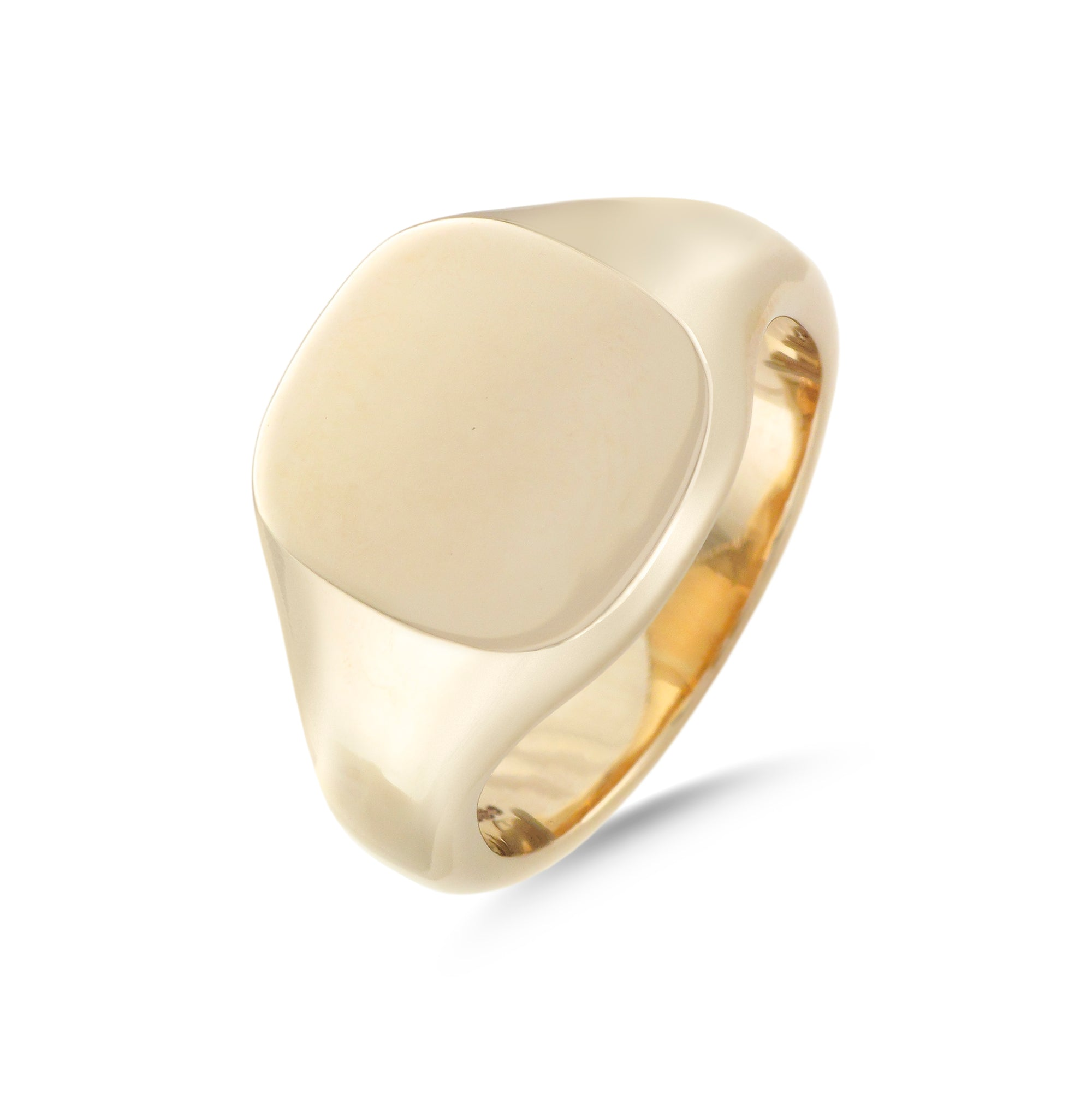 9ct Yellow Gold Cushion Signet Ring 15mm x 14mm