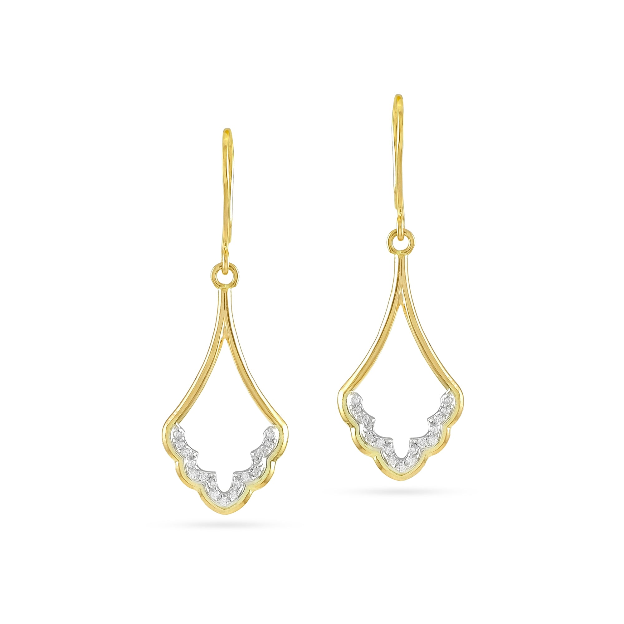 9ct Yellow Gold Diamond Cathedral Drop Earrings