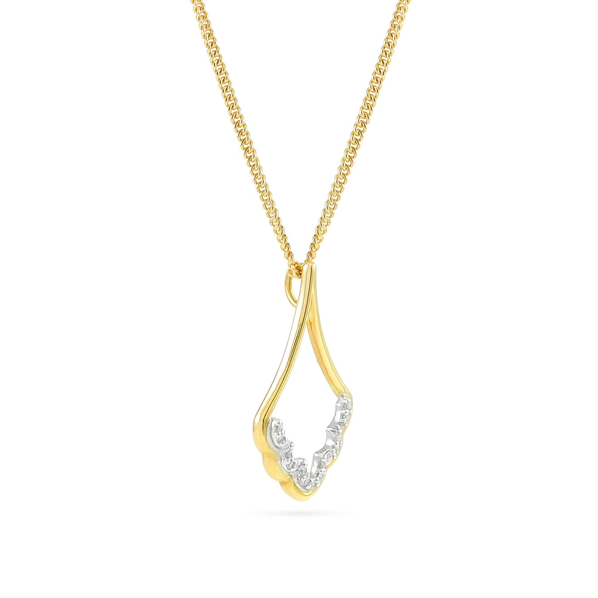 9ct Yellow Gold Diamond Cathedral Pendant
