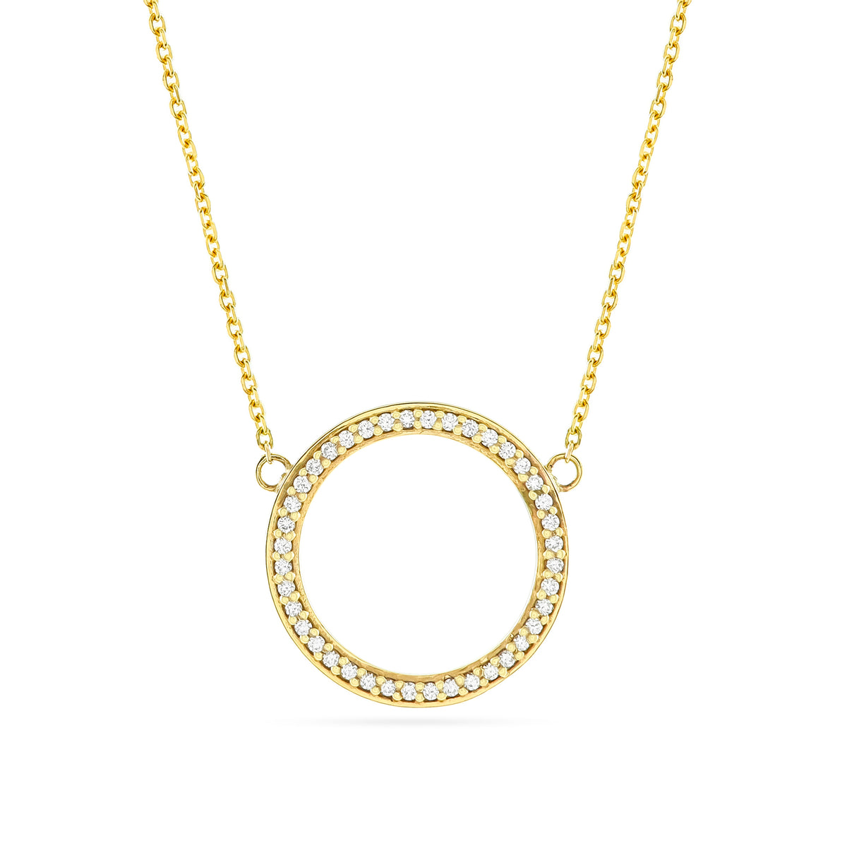 9ct Yellow Gold Diamond Circle Pendant