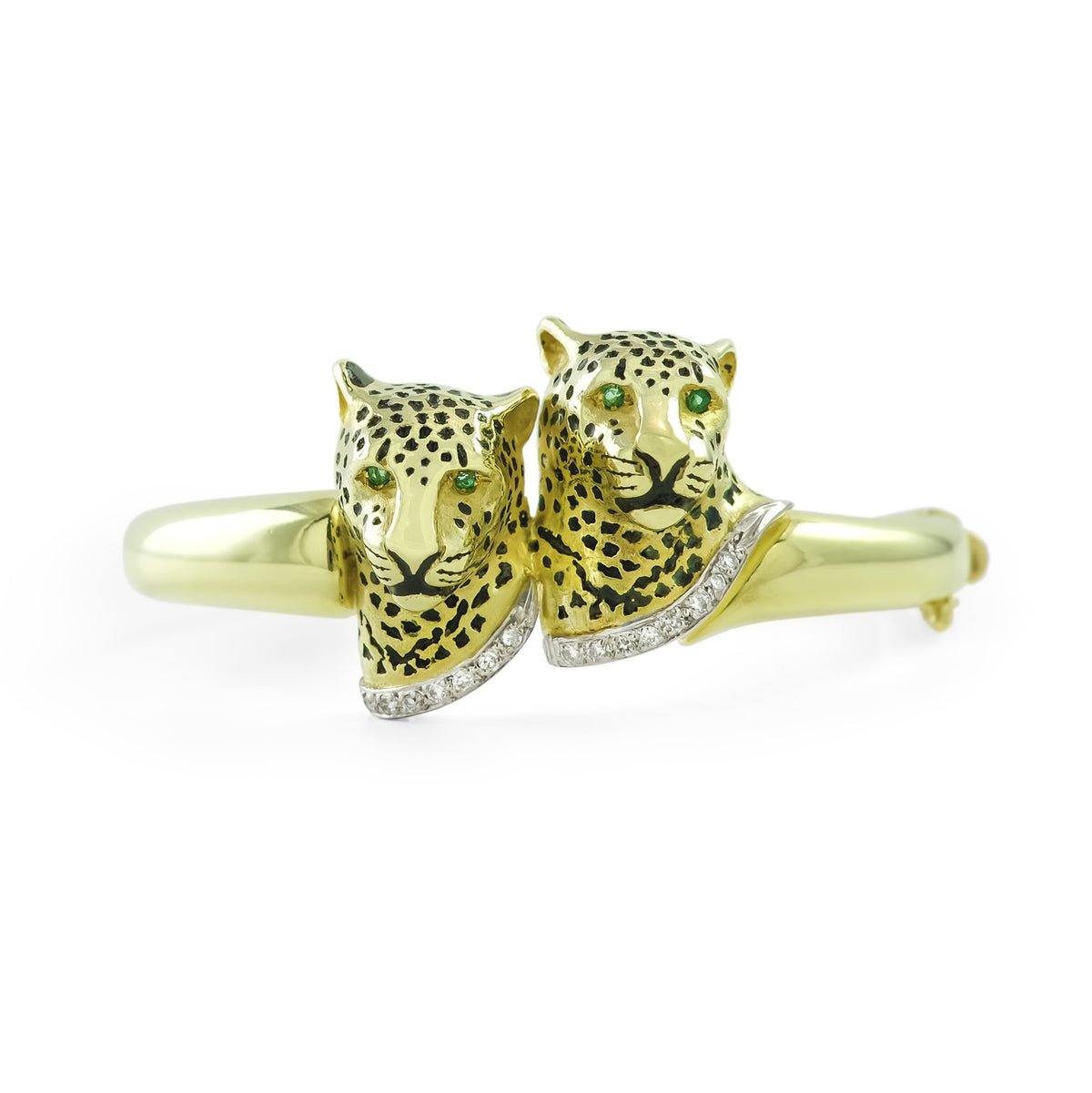 9ct Yellow Gold Diamond and Emerald Leopard Bangle