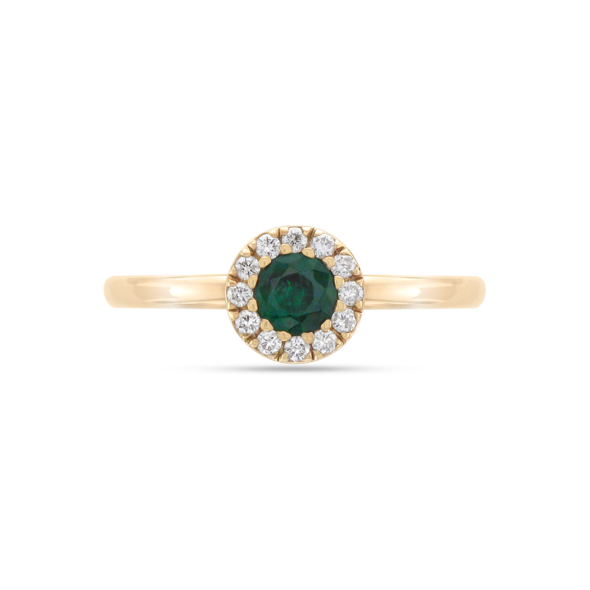 9ct Yellow Gold Emerald and Diamond Cluster Ring