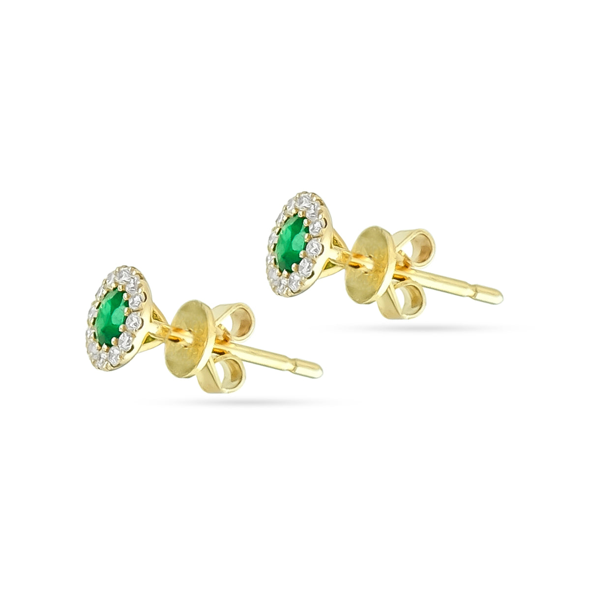 9ct Yellow Gold Emerald and Diamond Stud Earrings