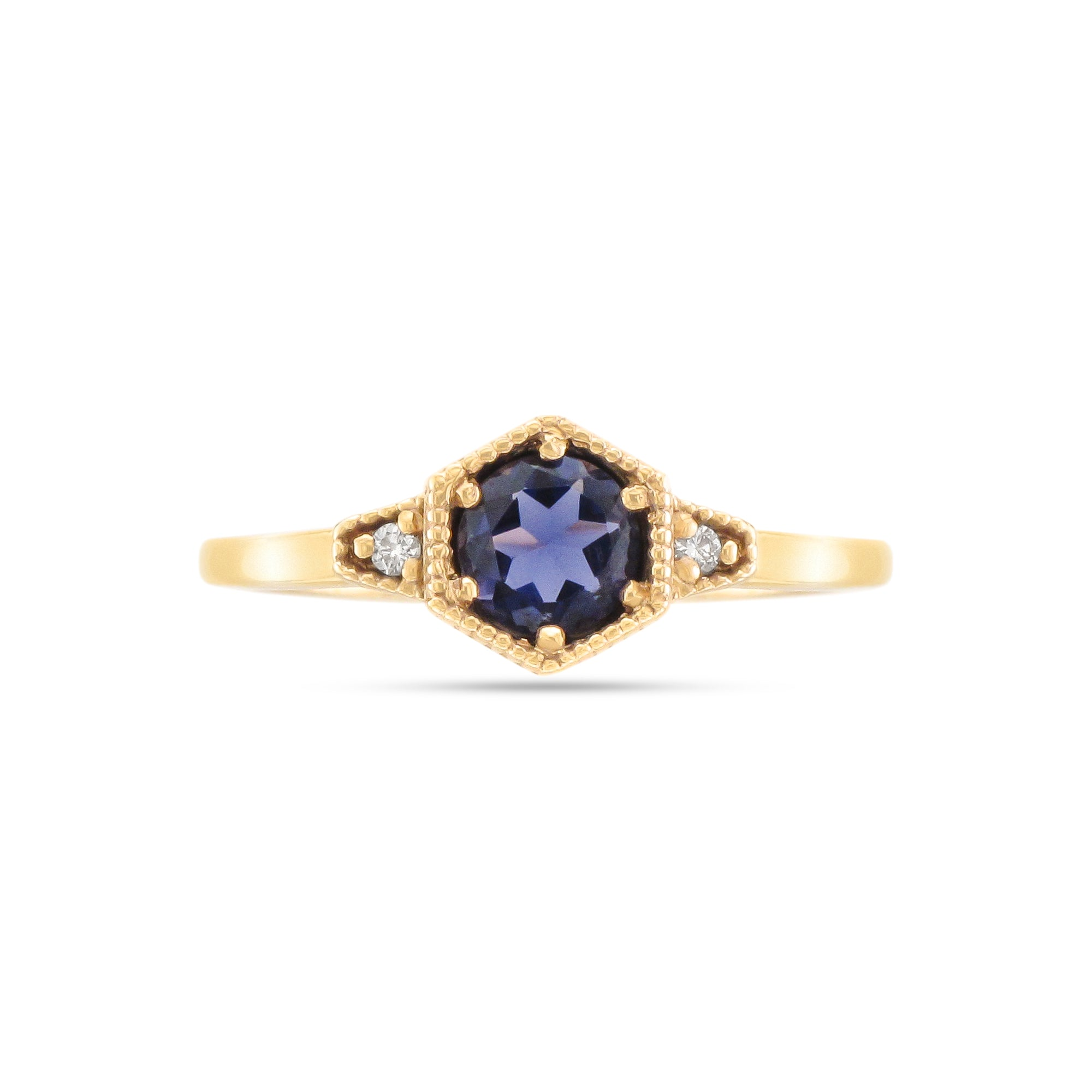 9ct Yellow Gold Iolite and Diamond Ring