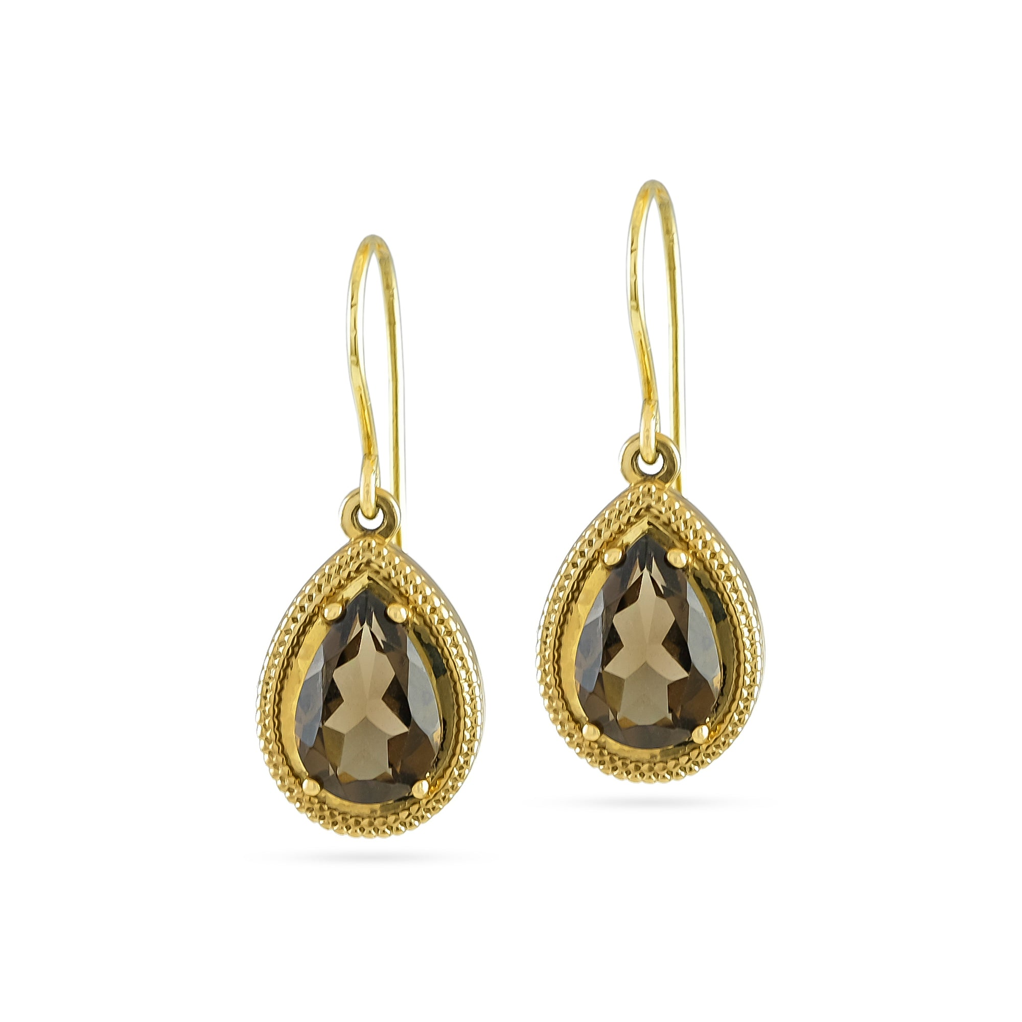 9ct Yellow Gold Smokey Quartz Drop Earrings
