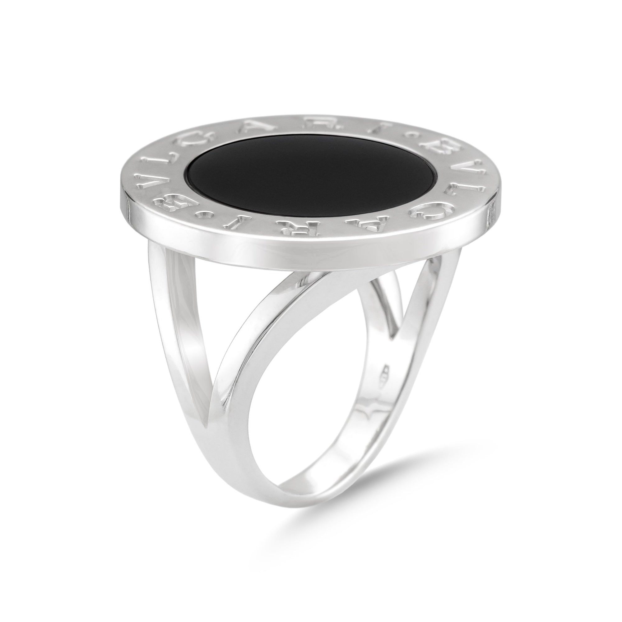 Bvlgari Bvlgari 18ct White Gold Large Black Onyx Ring