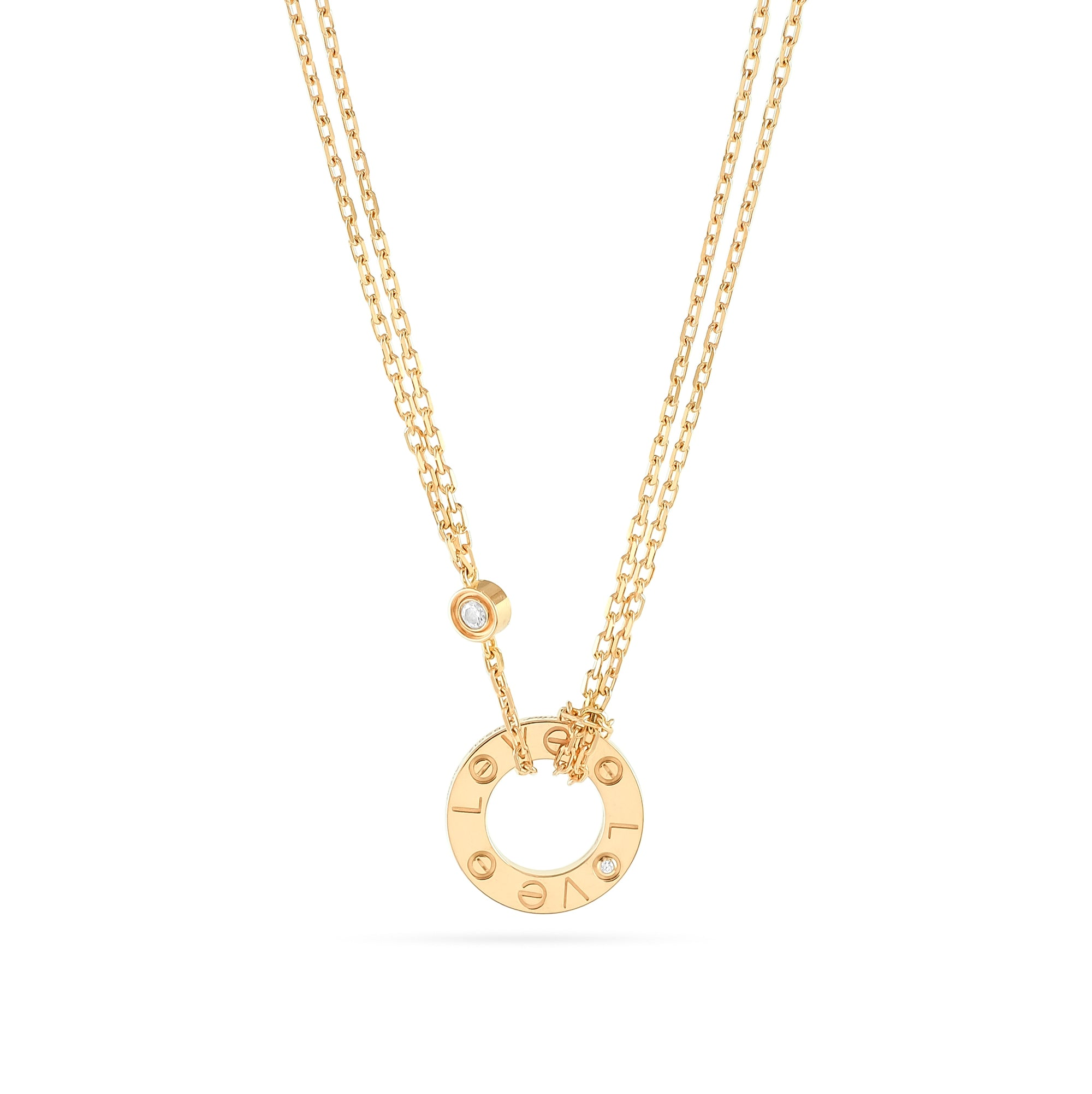 Cartier 18ct Rose Gold 2 Diamond Love Necklace