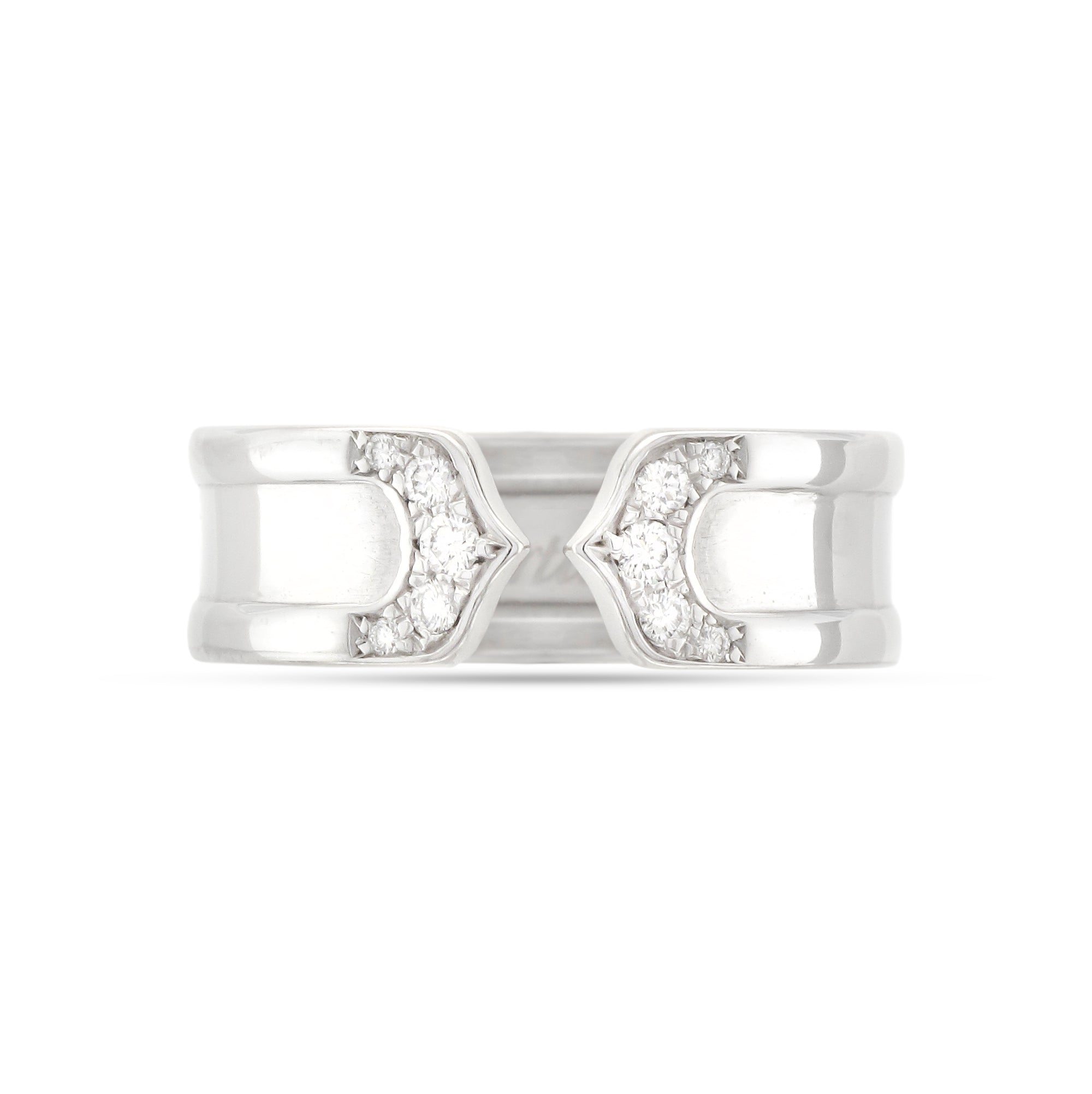 Cartier 18ct White Gold Double C Diamond Ring
